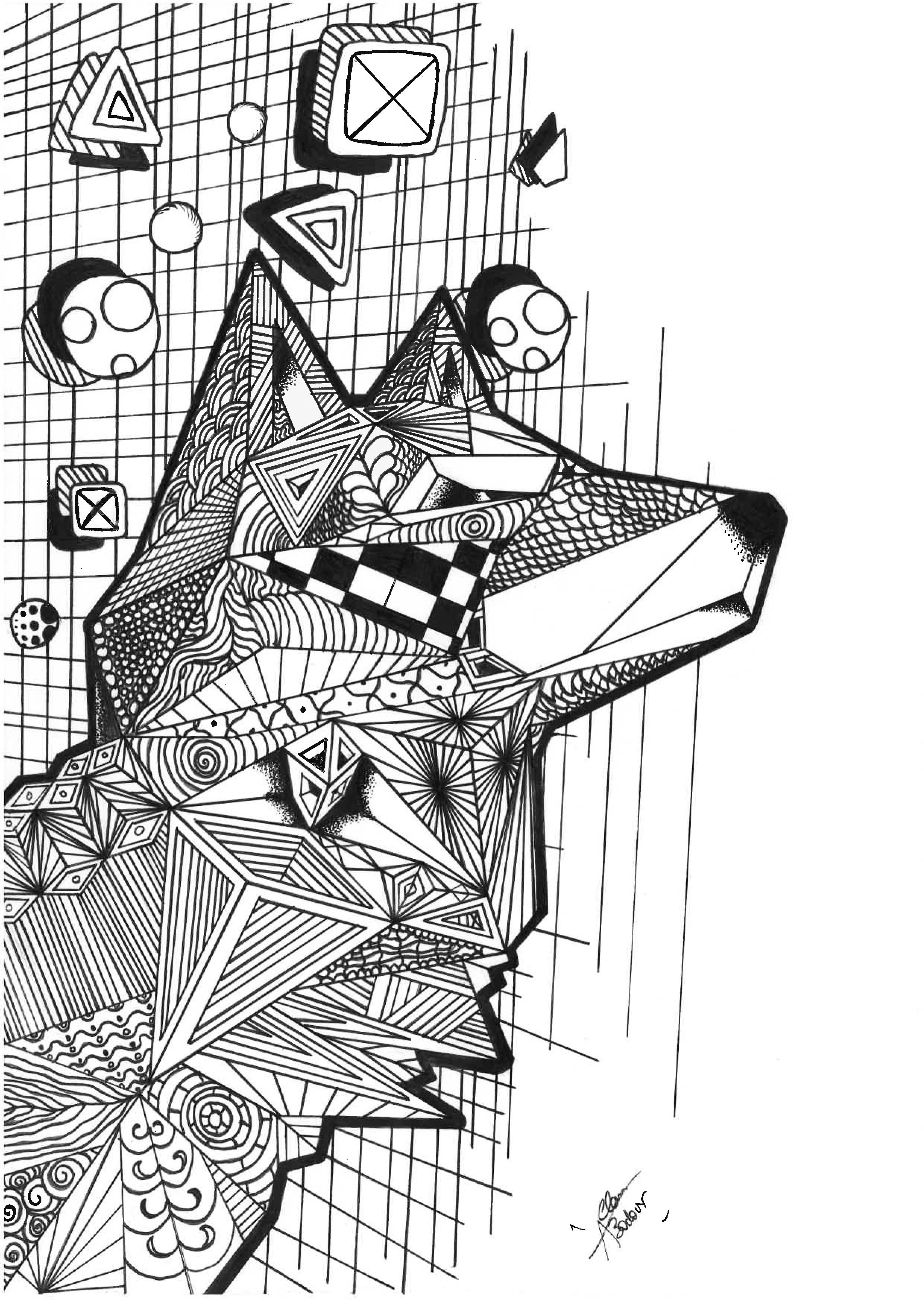 Loup avec motifs geometriques loups coloriages difficiles pour adultes - Coloriage geometrique ...