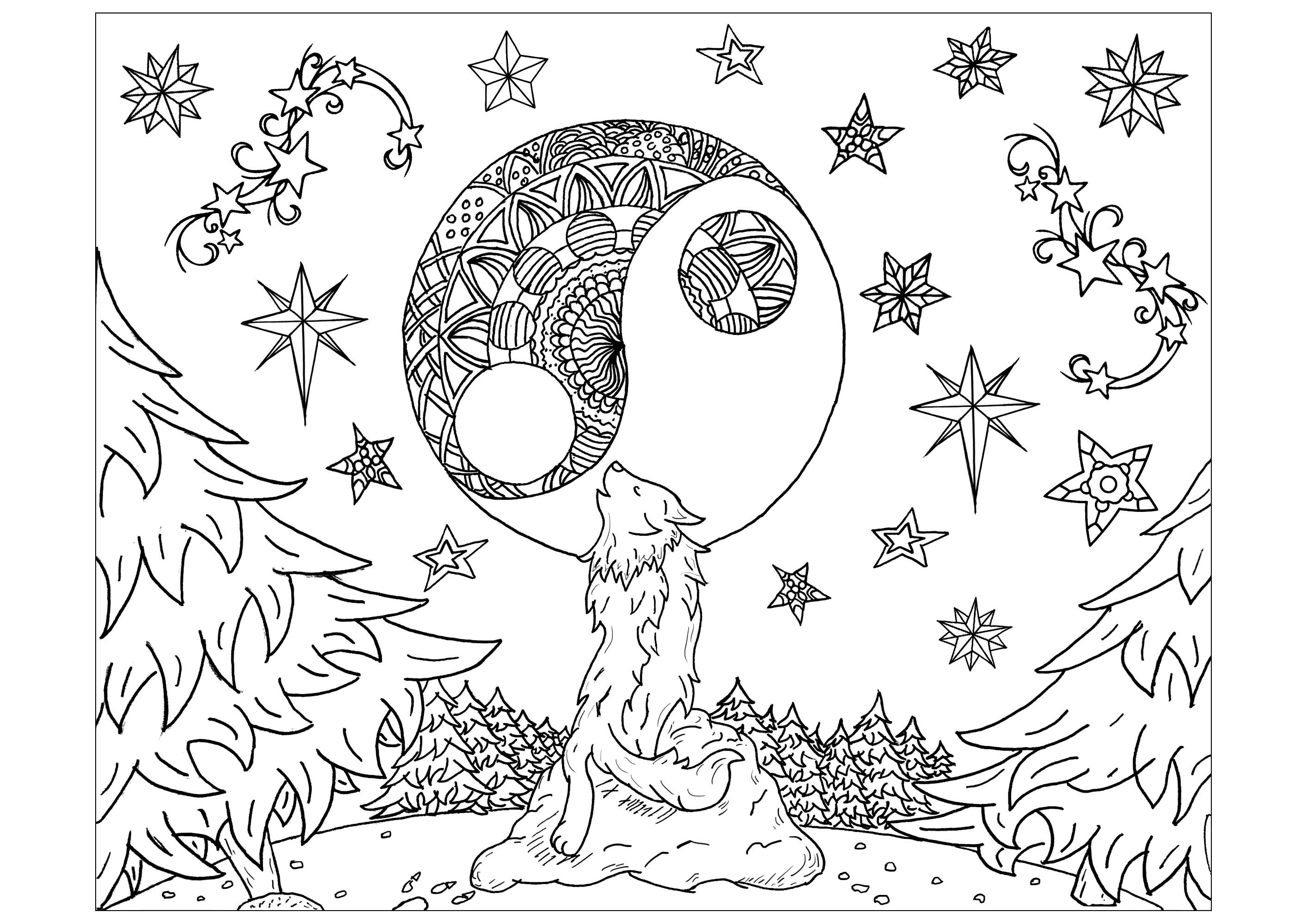 Loup hurlant au clair de lune pendant une nuit étoilée
