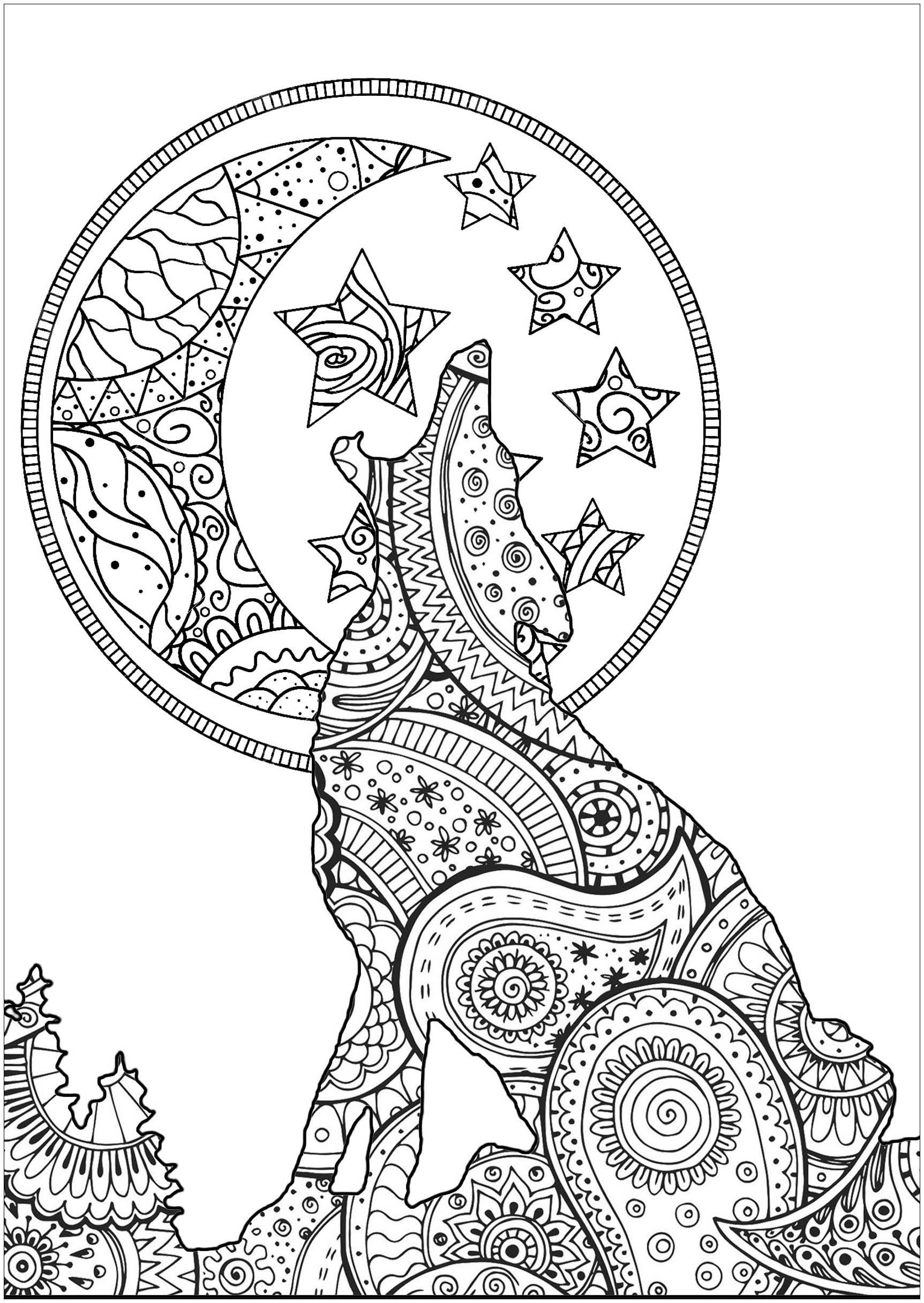Jolie silhouette de loup au clair de lune, avec motifs mêlant Zentangle et Paisley