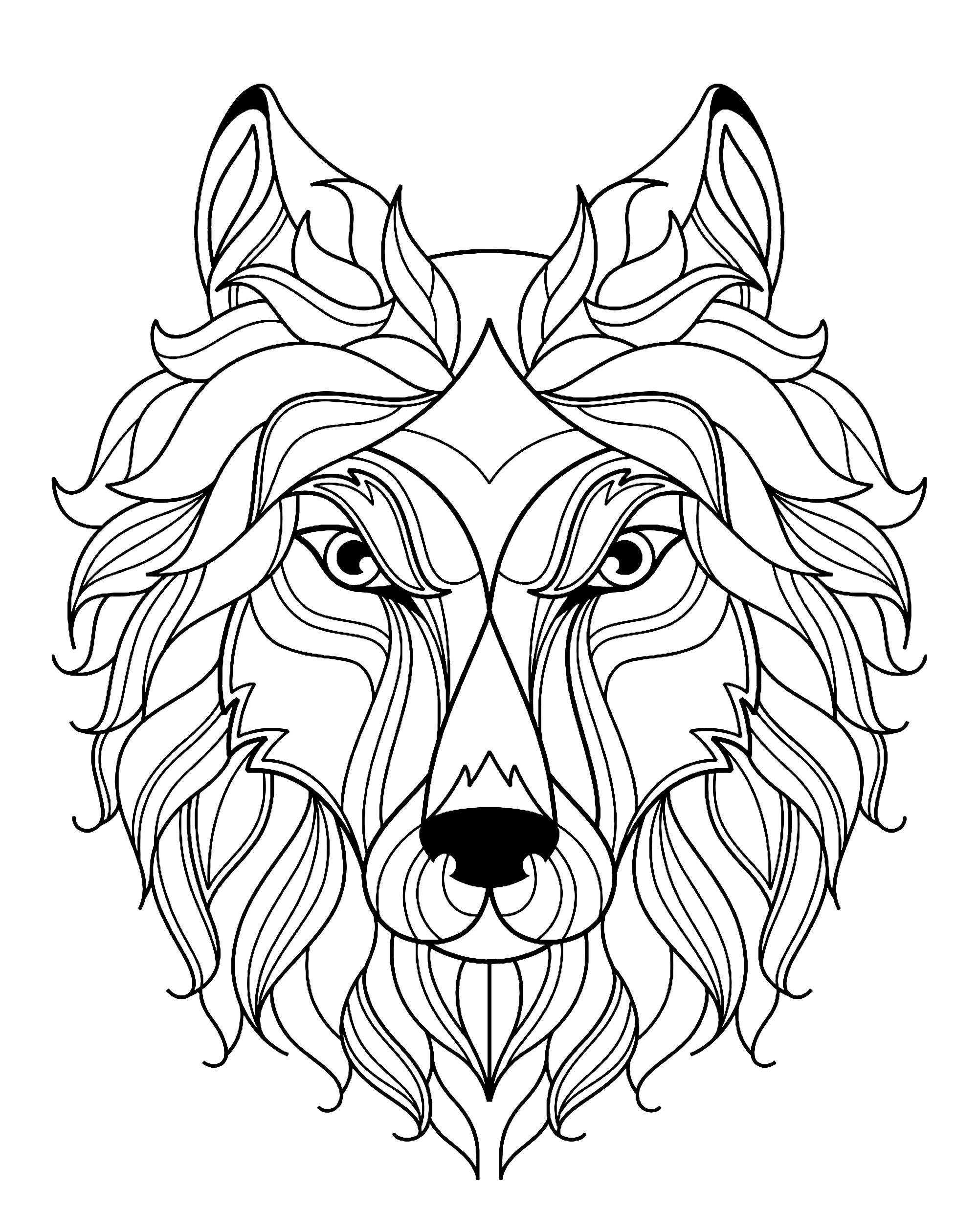 Tete de loup simple loups coloriages difficiles pour adultes - Dessin de loup simple ...