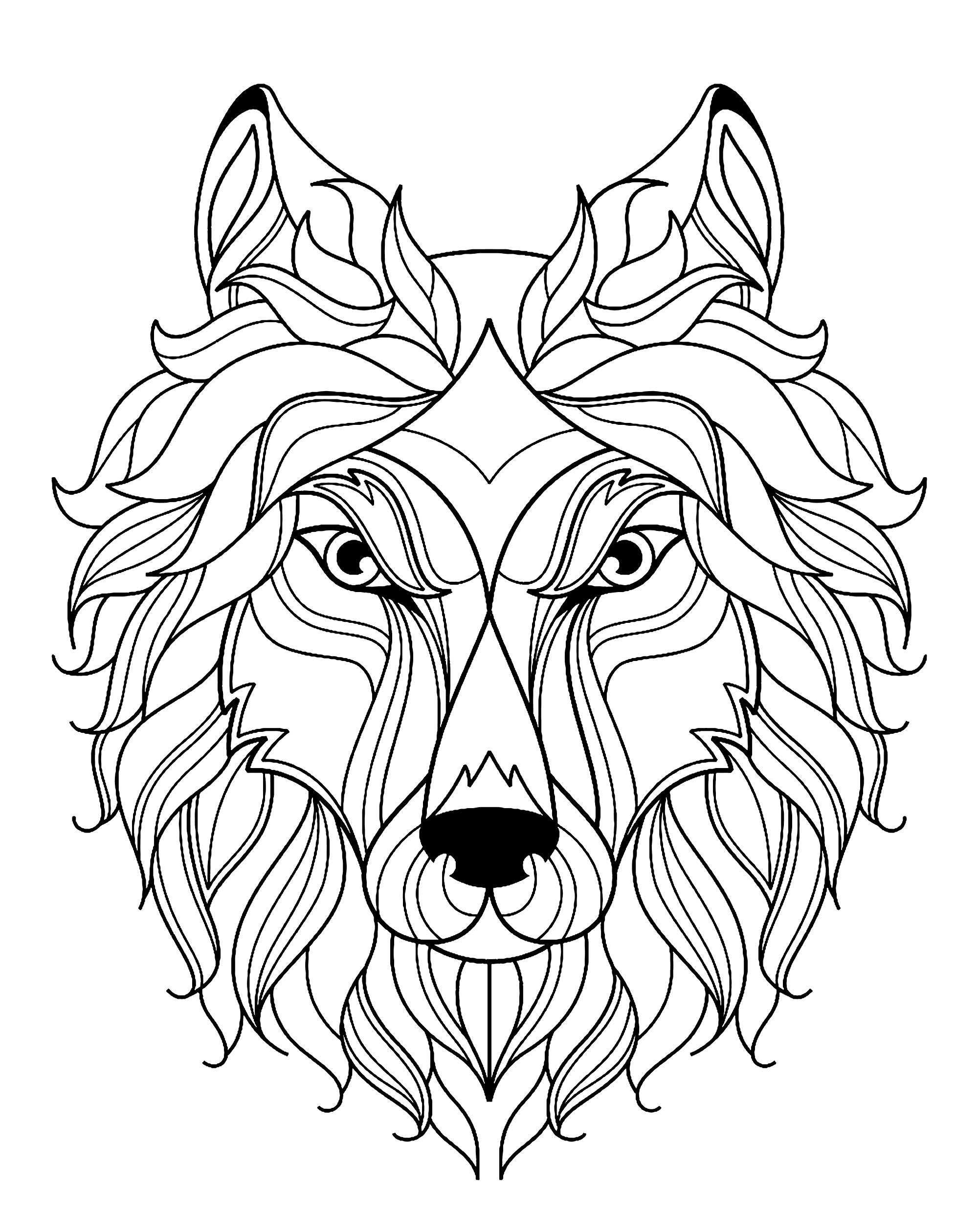 Tete de loup simple loups coloriages difficiles pour adultes - Tete de loup dessin ...