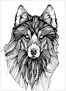 Coloriage adulte loup 3