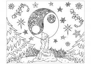 Le loup et la Lune Mandala