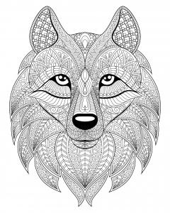 Coloriage tete de loup et motifs complexes