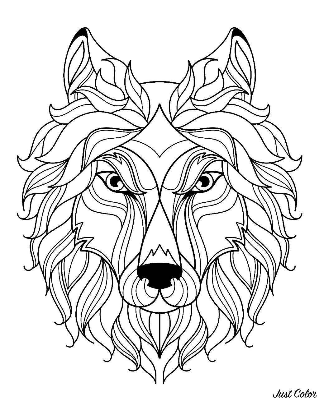 Tête de loup, avec motifs simples