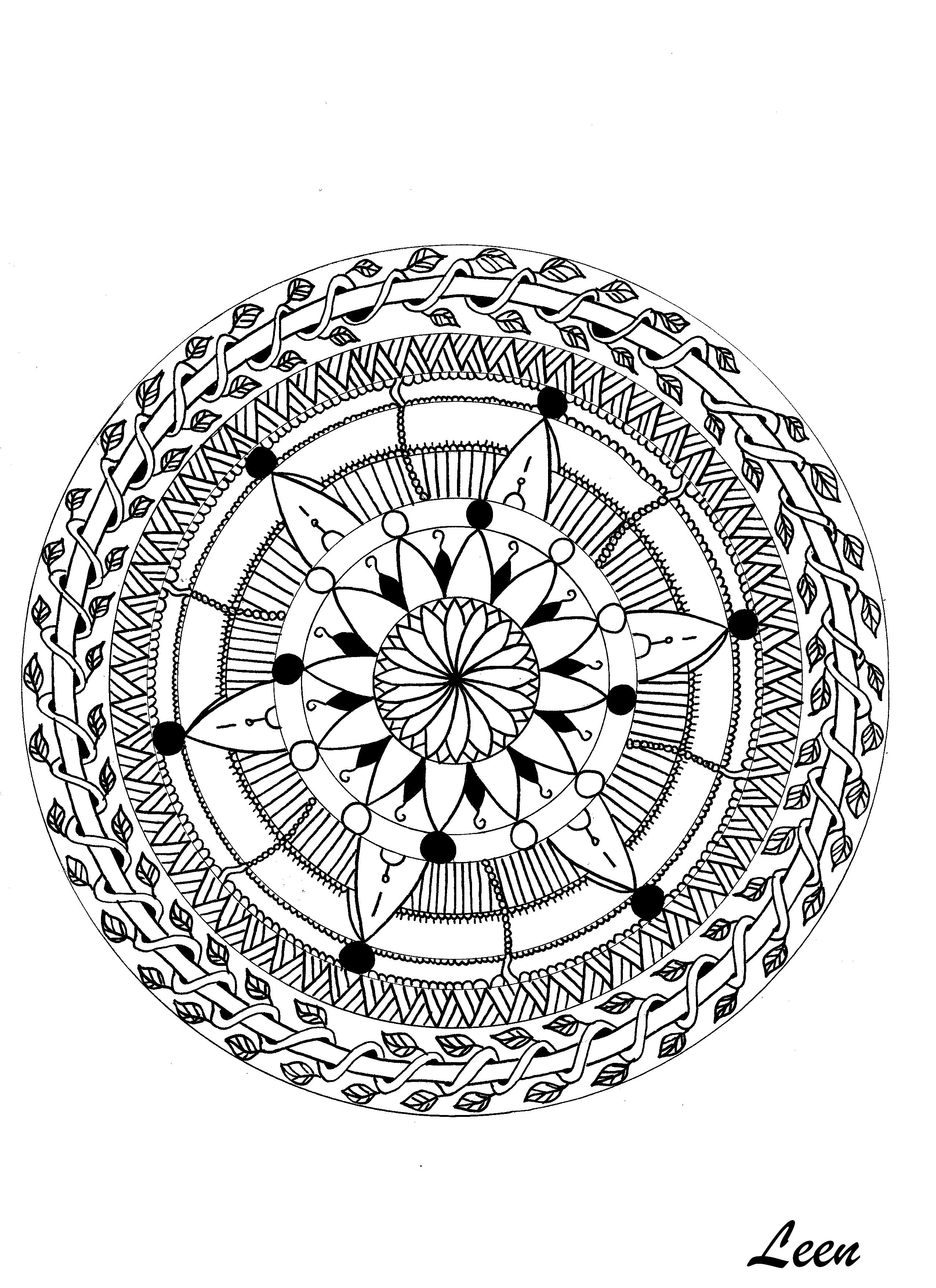 Leen margot mandala feuillu mandalas coloriages - Mandala pour adultes ...