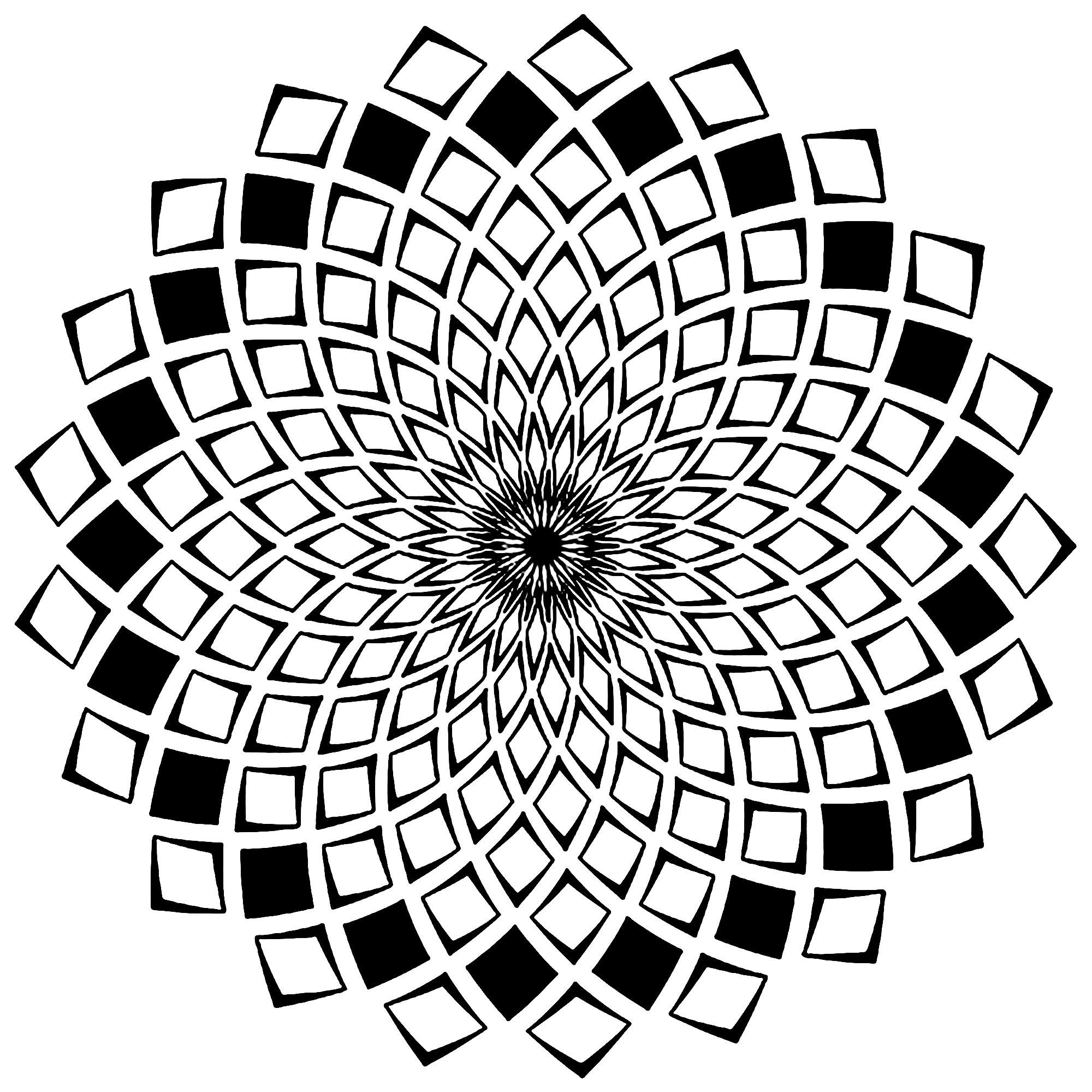 Mandala carres mosaiques mandalas coloriages - Dessin mosaique a imprimer ...