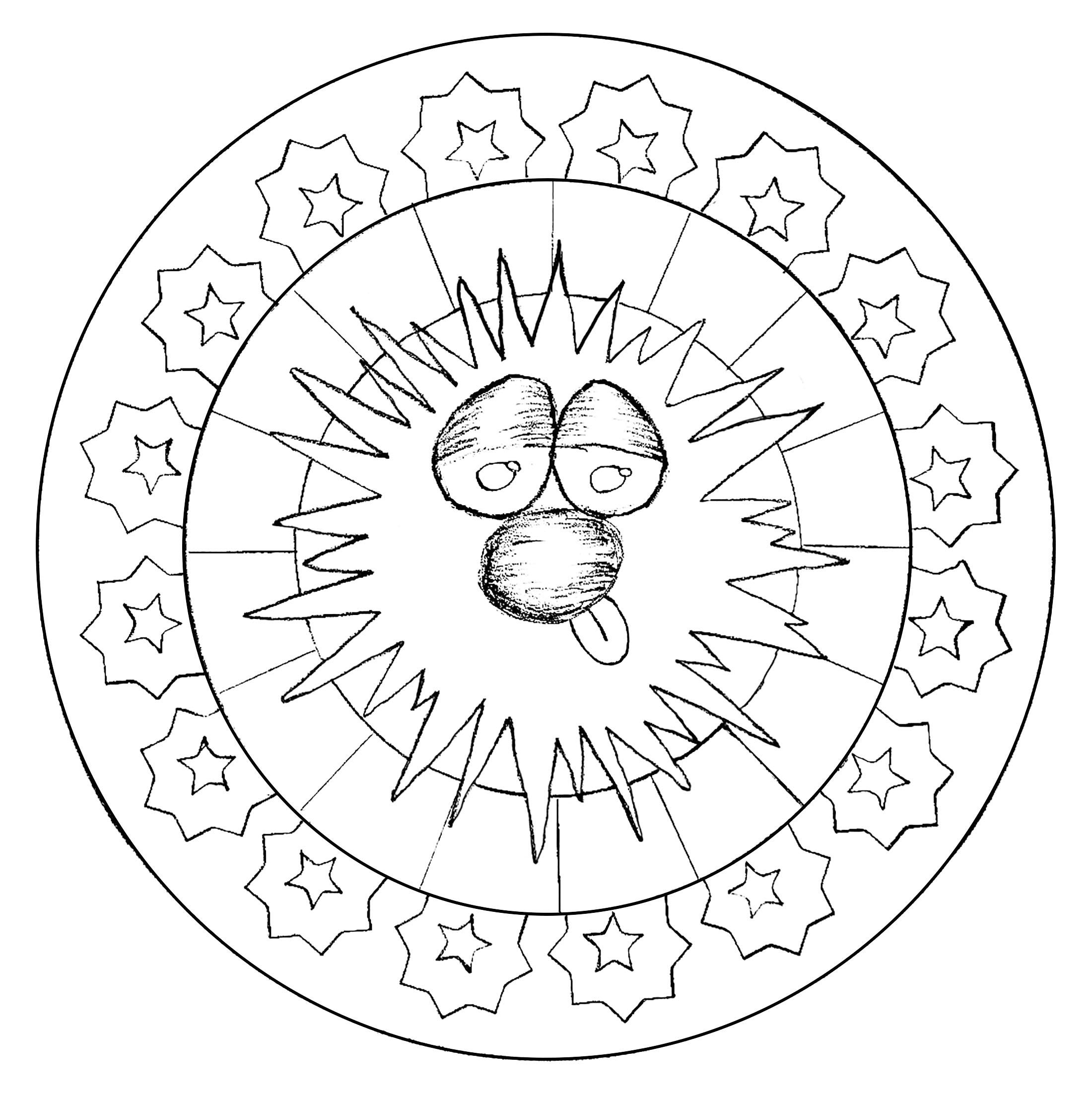 Mandala constitué d'un visage marrant