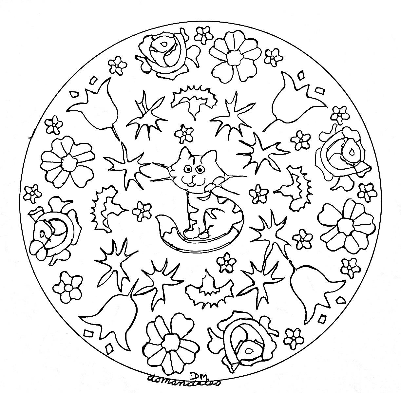 Mandala domandalas petit chat et fleurs mandalas coloriages difficiles pour adultes - Coloriage fleur mandala ...