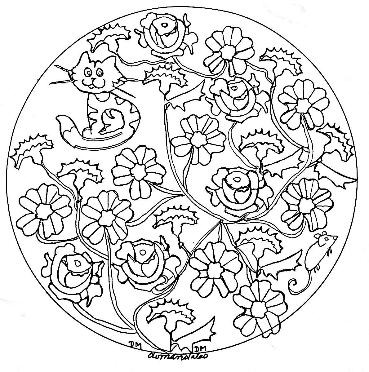 Mandala domandalas roses et chat