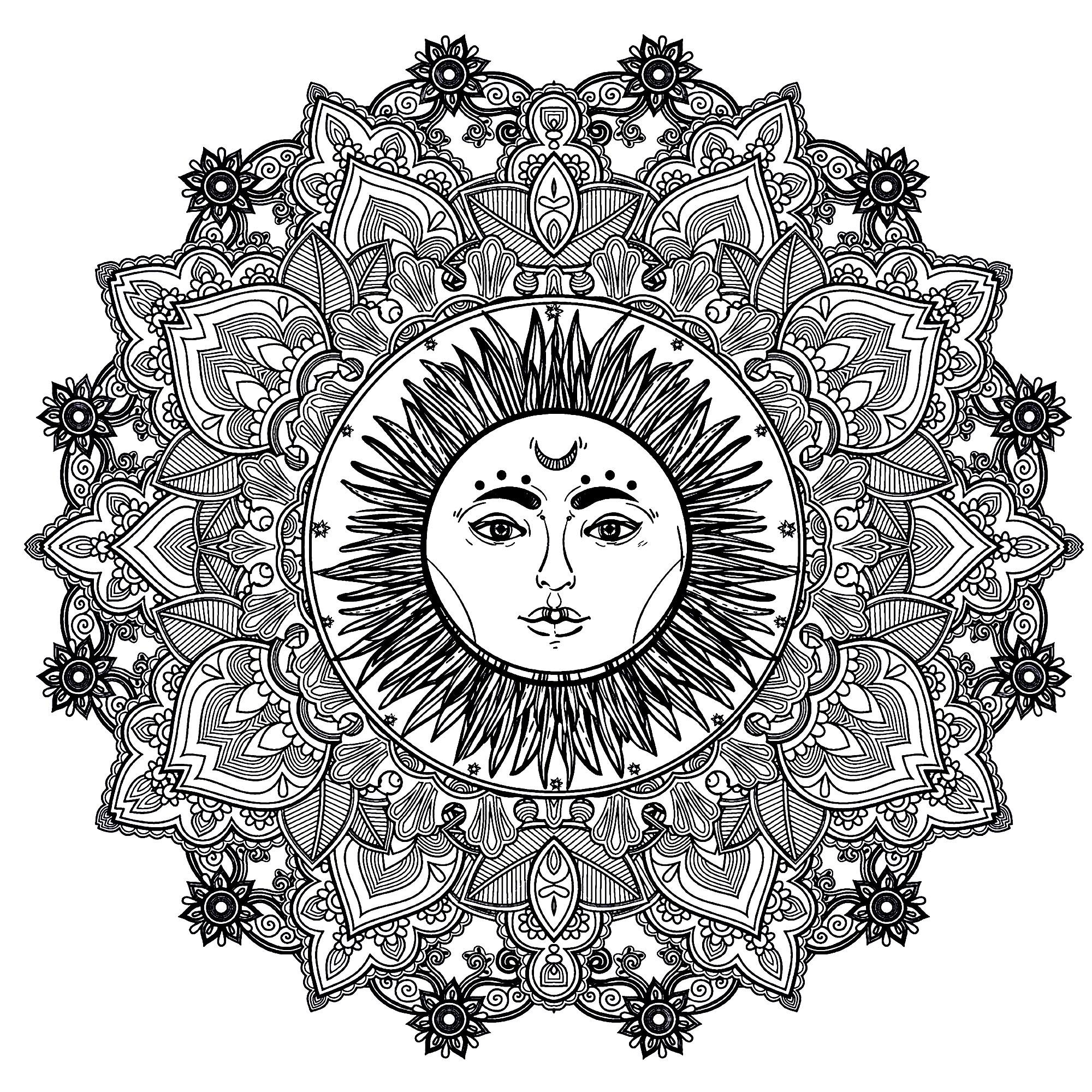 Beau Dessin A Colorier Mandala soleil