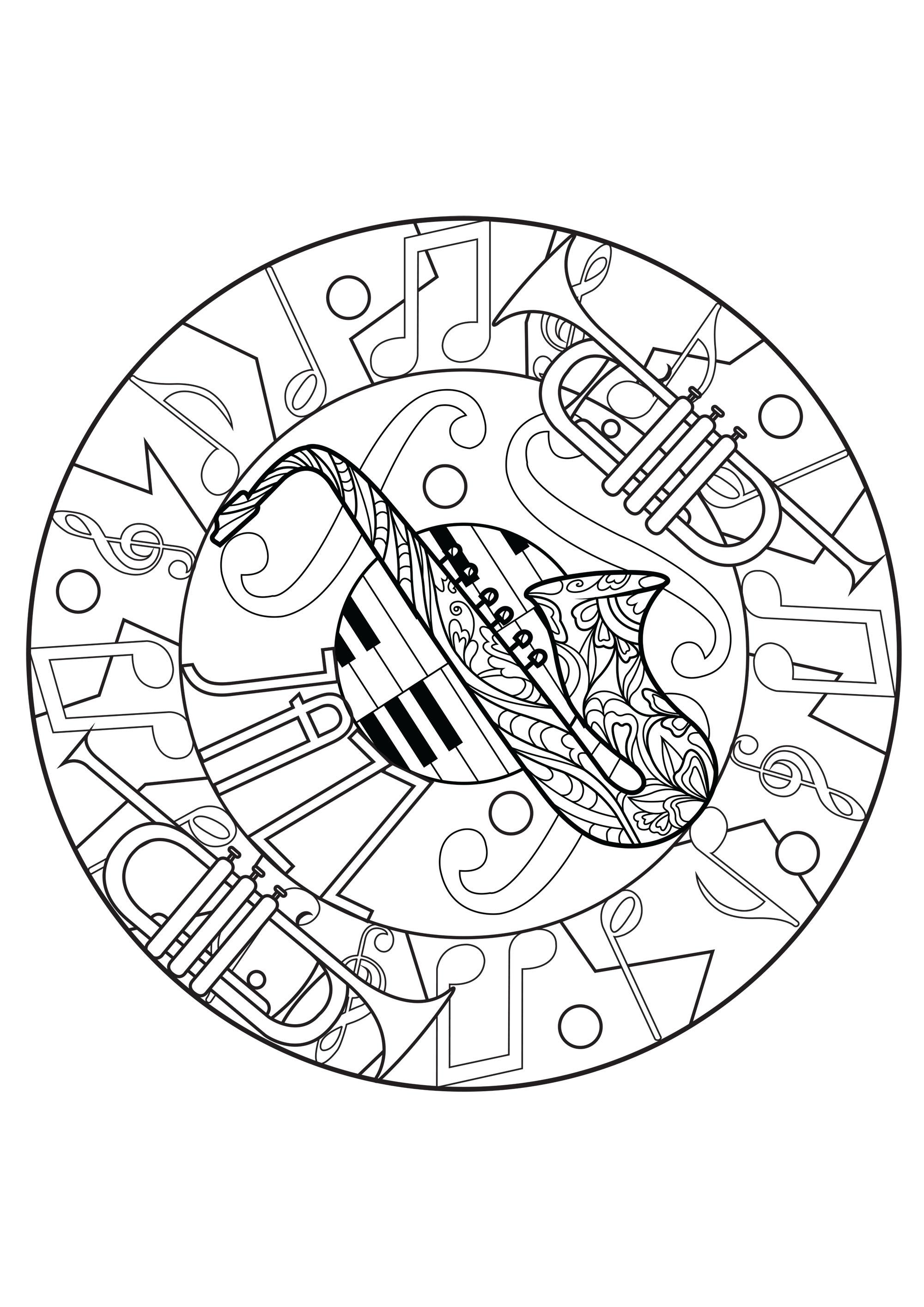 Mandala mélodieux composé de saxophone, trompettes et piano