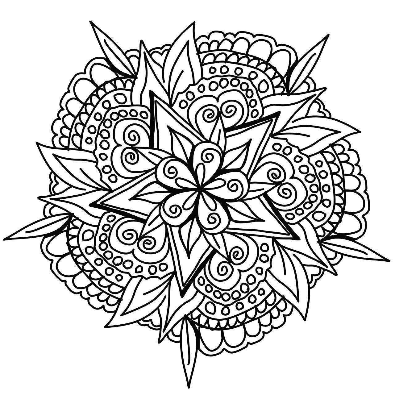 Magnifique mandala dessin la main mandalas coloriages difficiles pour adultes - Coloriage magnifique ...