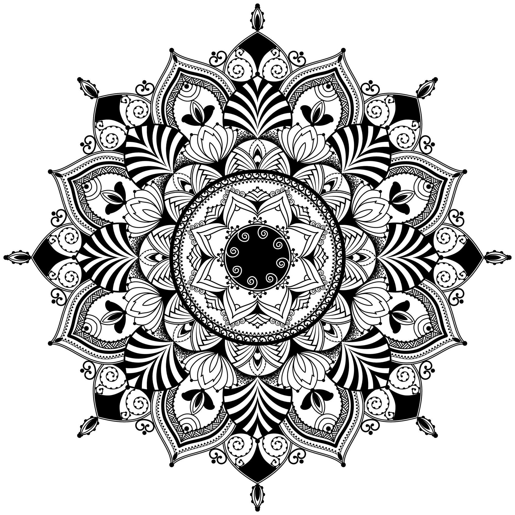 Mandala Zentangle - Mandalas - Coloriages difficiles pour ...