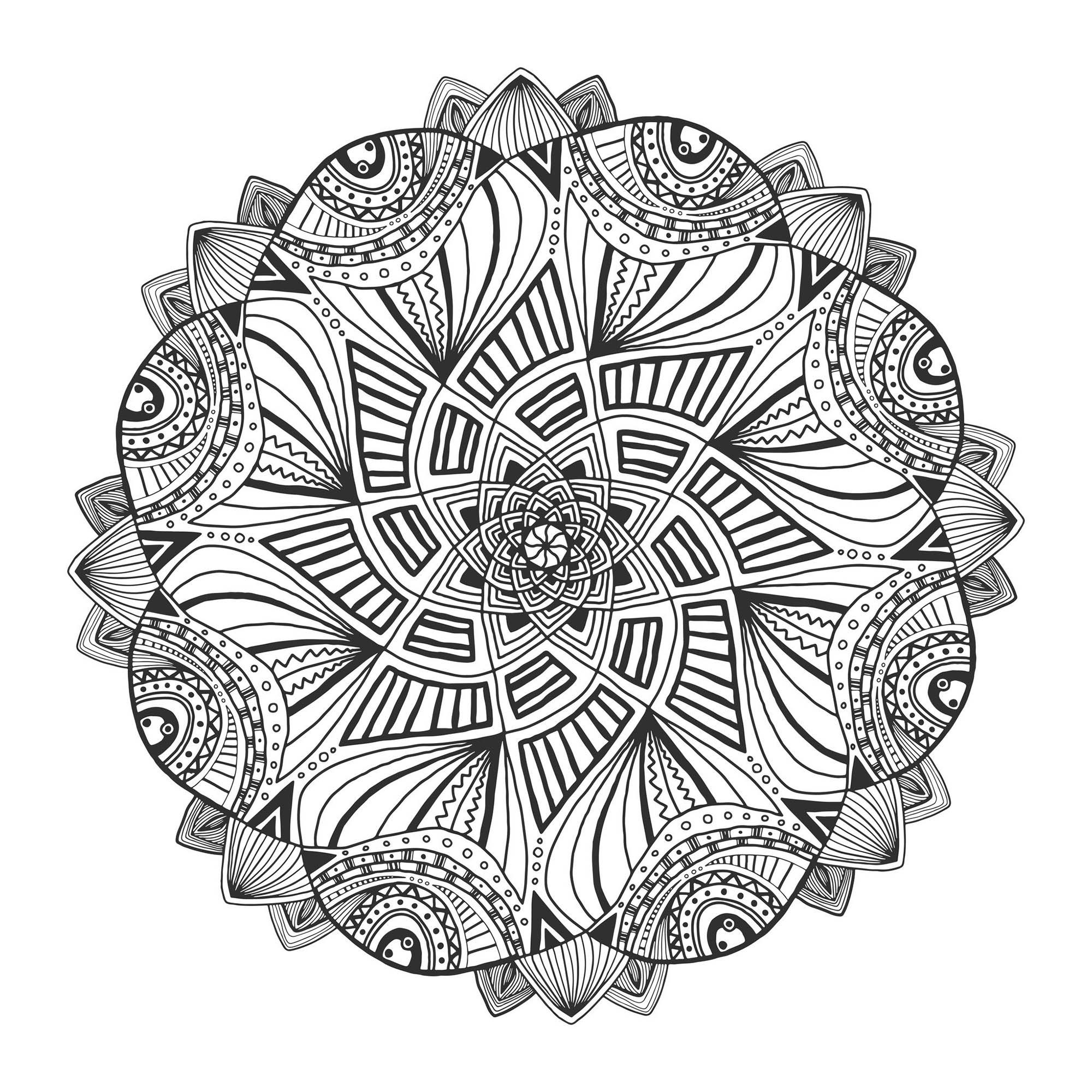 Mandala floral - Mandalas - Coloriages difficiles pour adultes