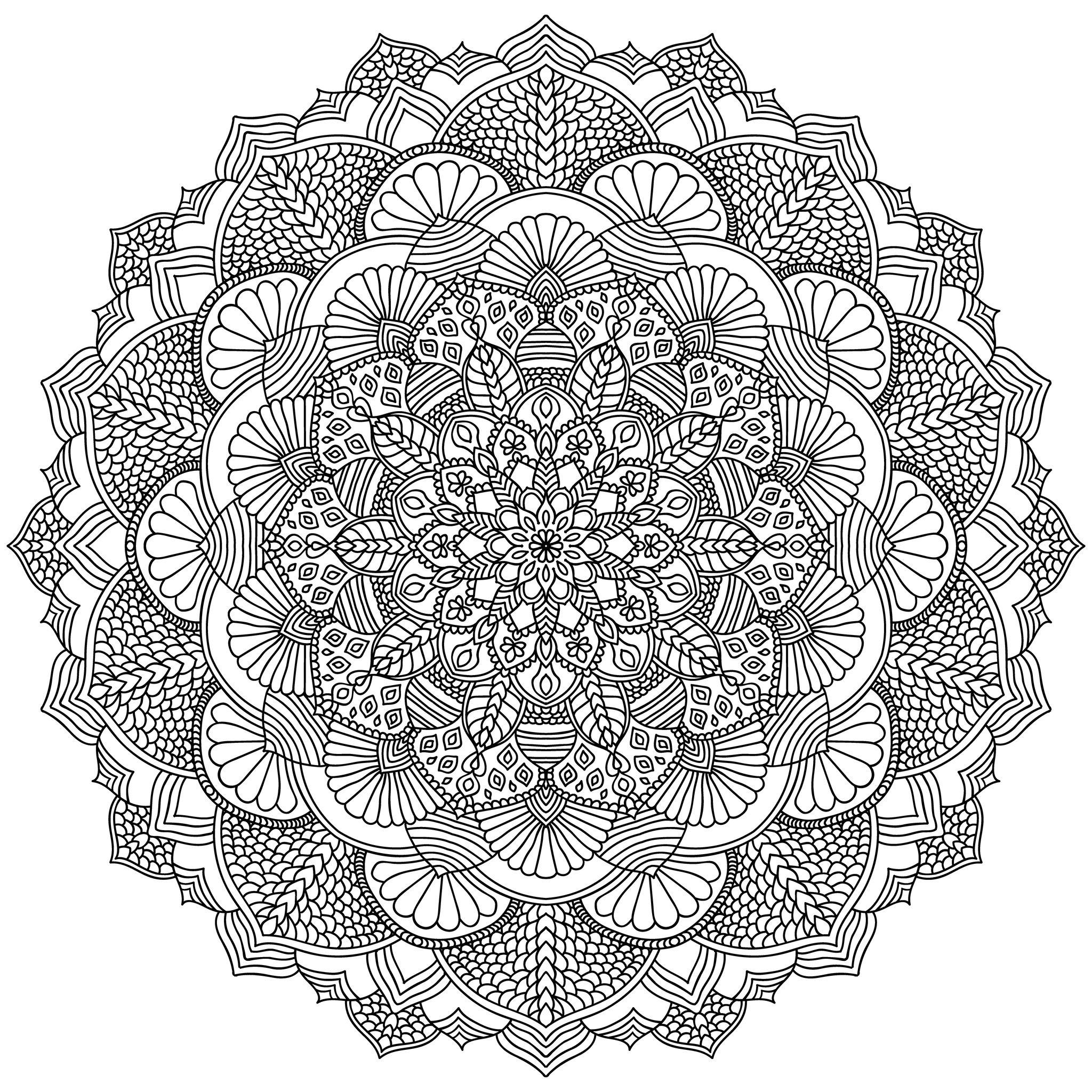 Mandala complexe aux motifs intriqués - Mandalas - Coloriages difficiles pour adultes