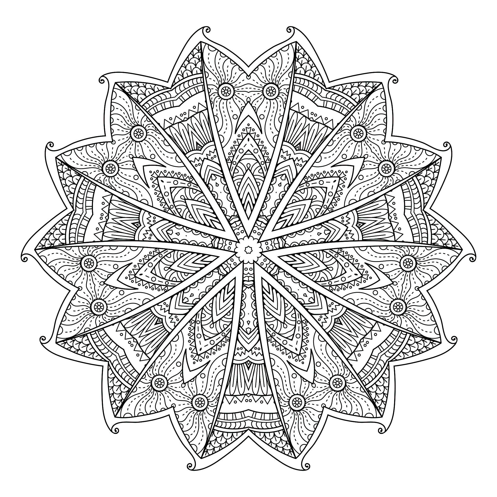Coloriage De Mandala Etoile.Mandala Etoile Mandalas Coloriages Difficiles Pour Adultes