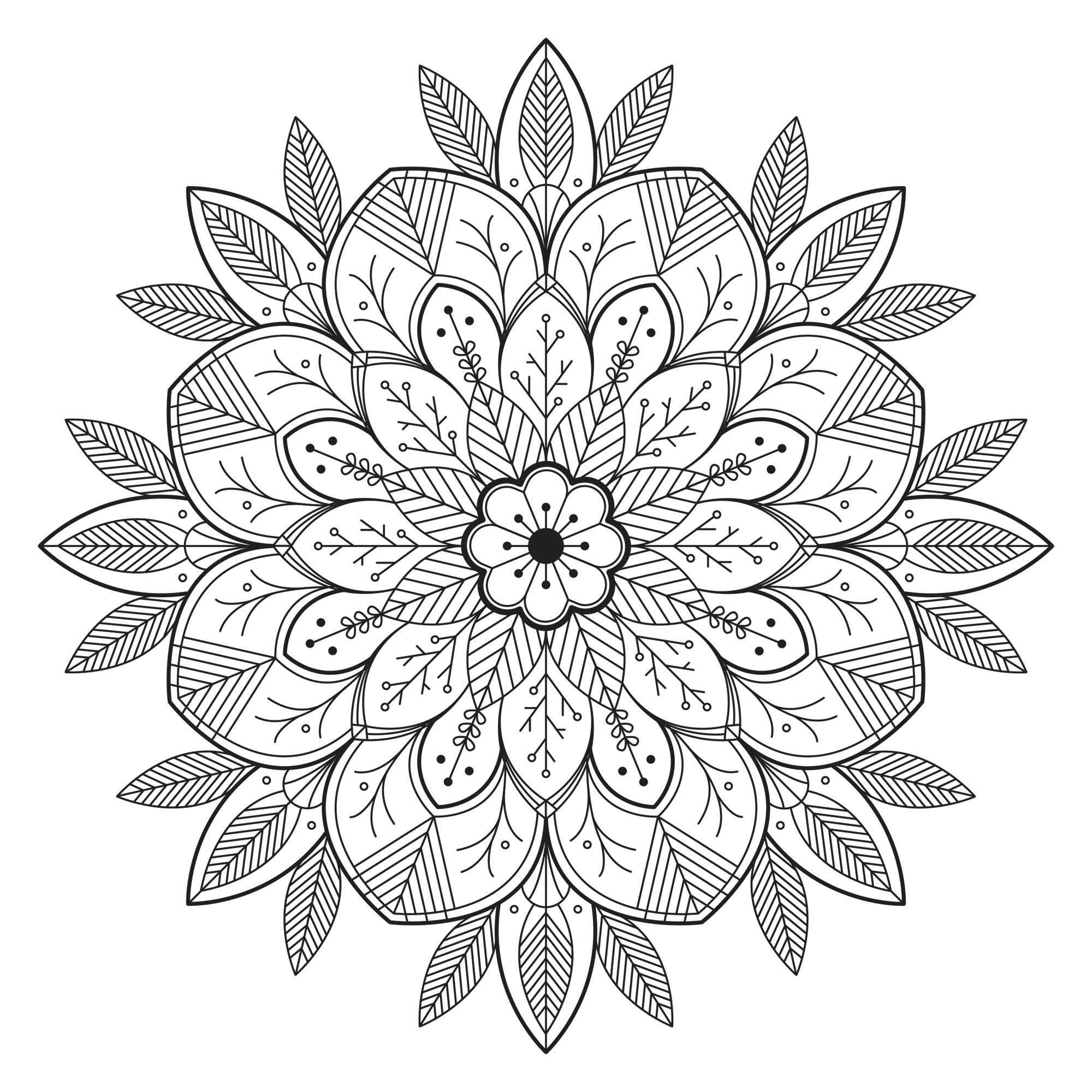 Simple mandala fleuri feuillu mandalas coloriages difficiles pour adultes - Coloriage fleur mandala ...
