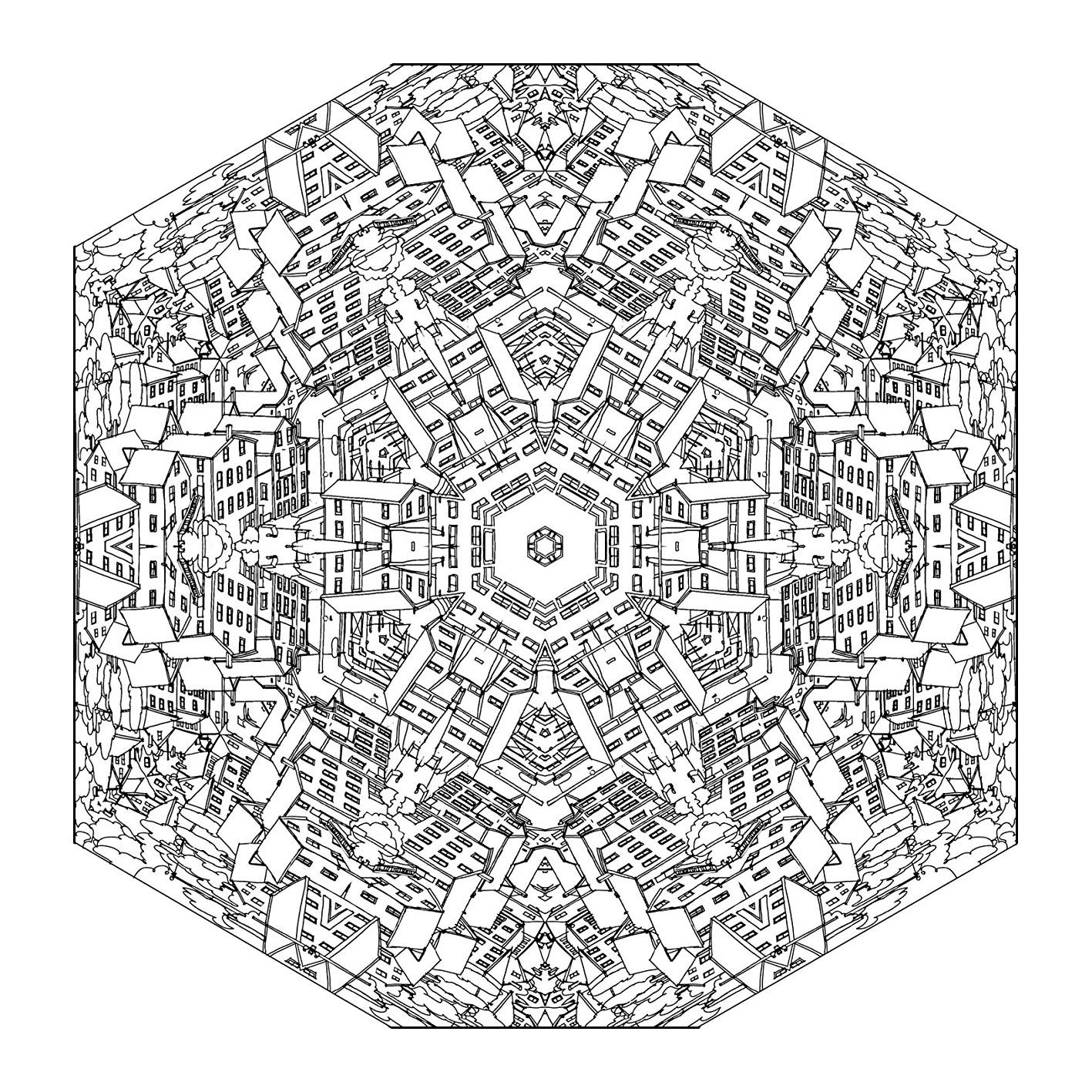 Mandala city mandalas coloriages difficiles pour adultes - Dessin mandalas ...