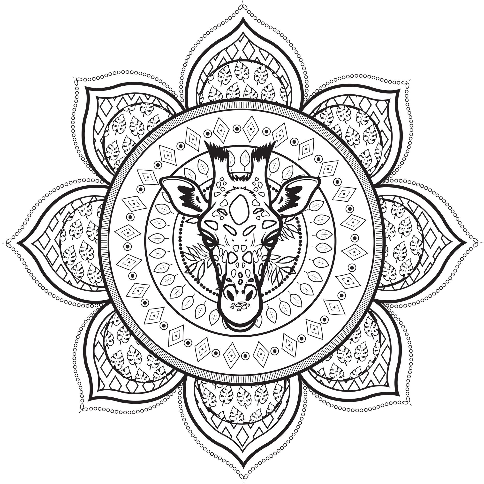 Coloriage Girafe Mandala.Mandala Girafe Mandalas Coloriages Difficiles Pour Adultes