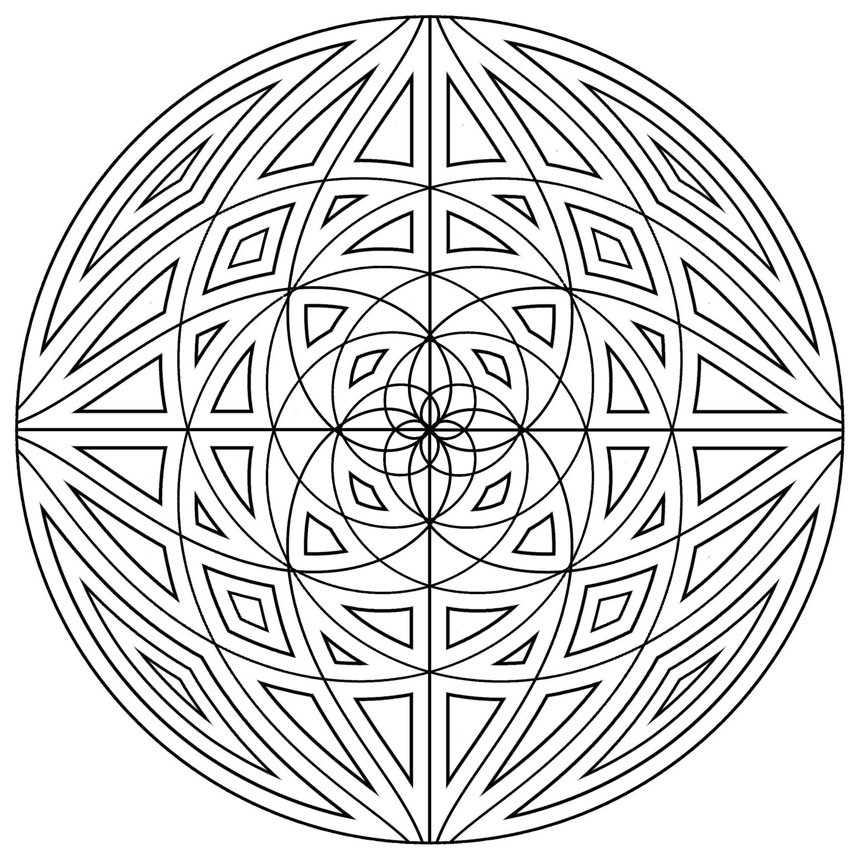 Mandala lignes concentriques | Mandalas - Coloriages difficiles pour ...