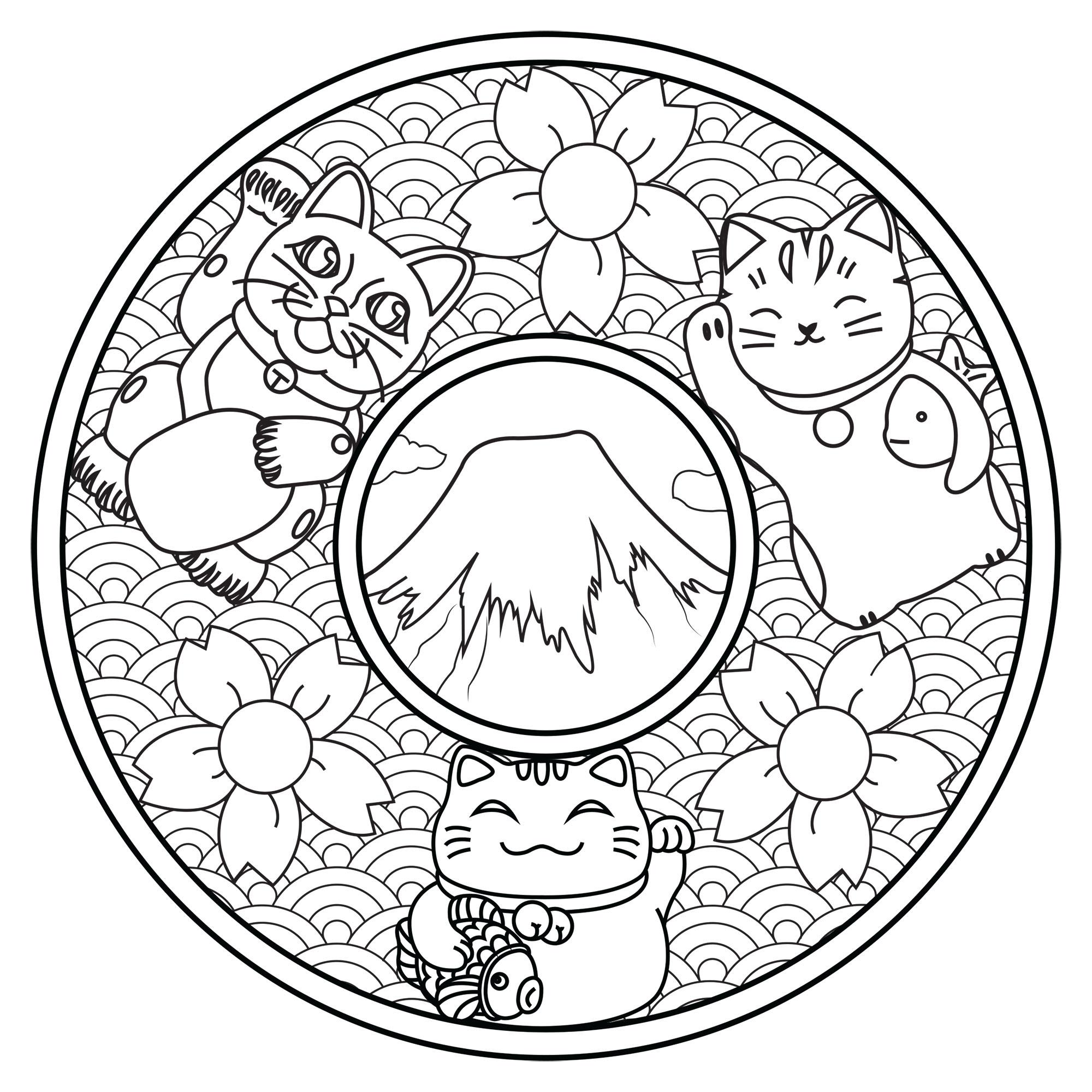 Coloriez ces trois chats mignons sur ce Mandala inspiré du Japon : le Mont Fuji, des fleurs de cerisiers, des vagues ...
