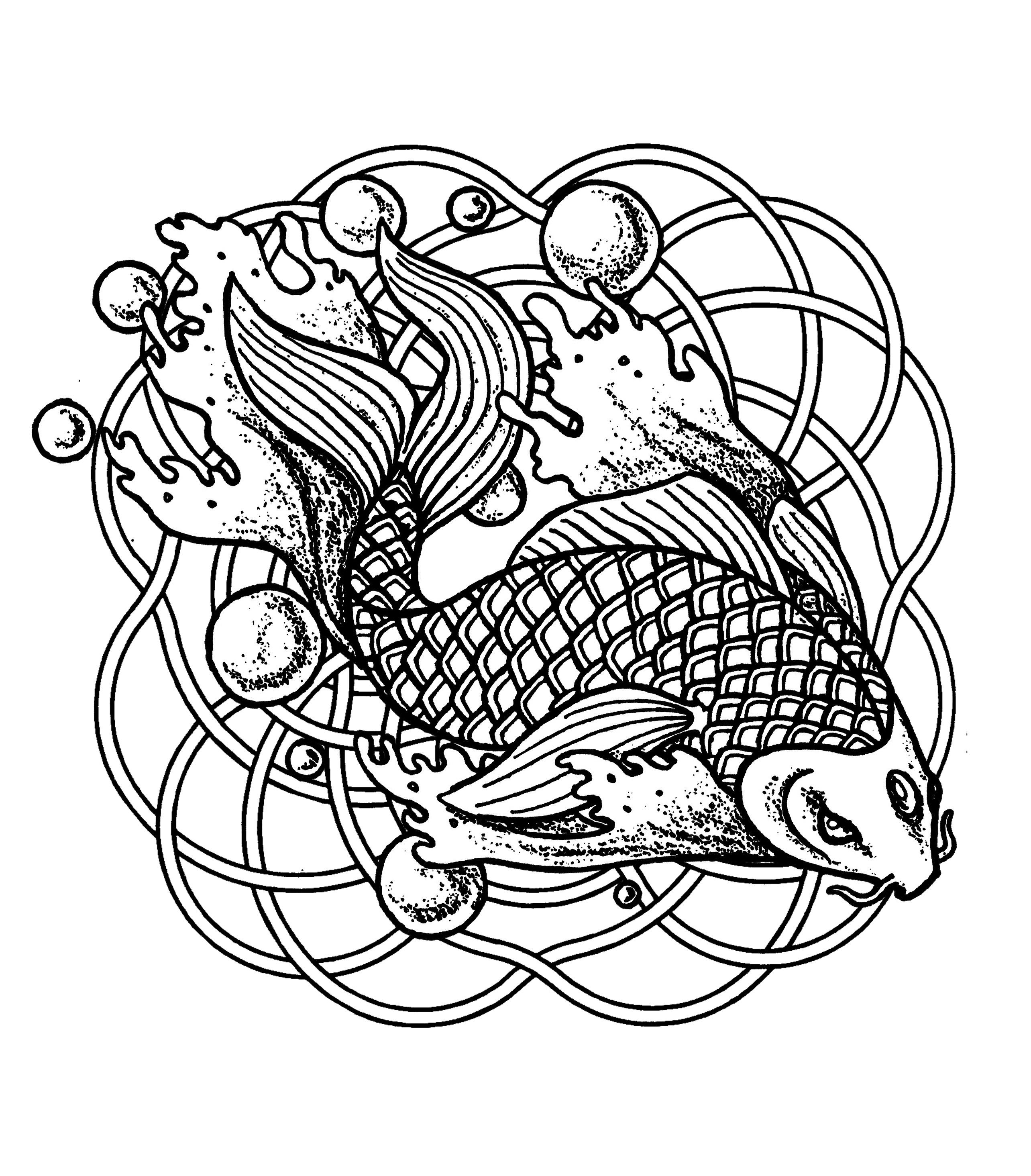 Mandala poissons et bulles   Mandalas - Coloriages difficiles pour ...