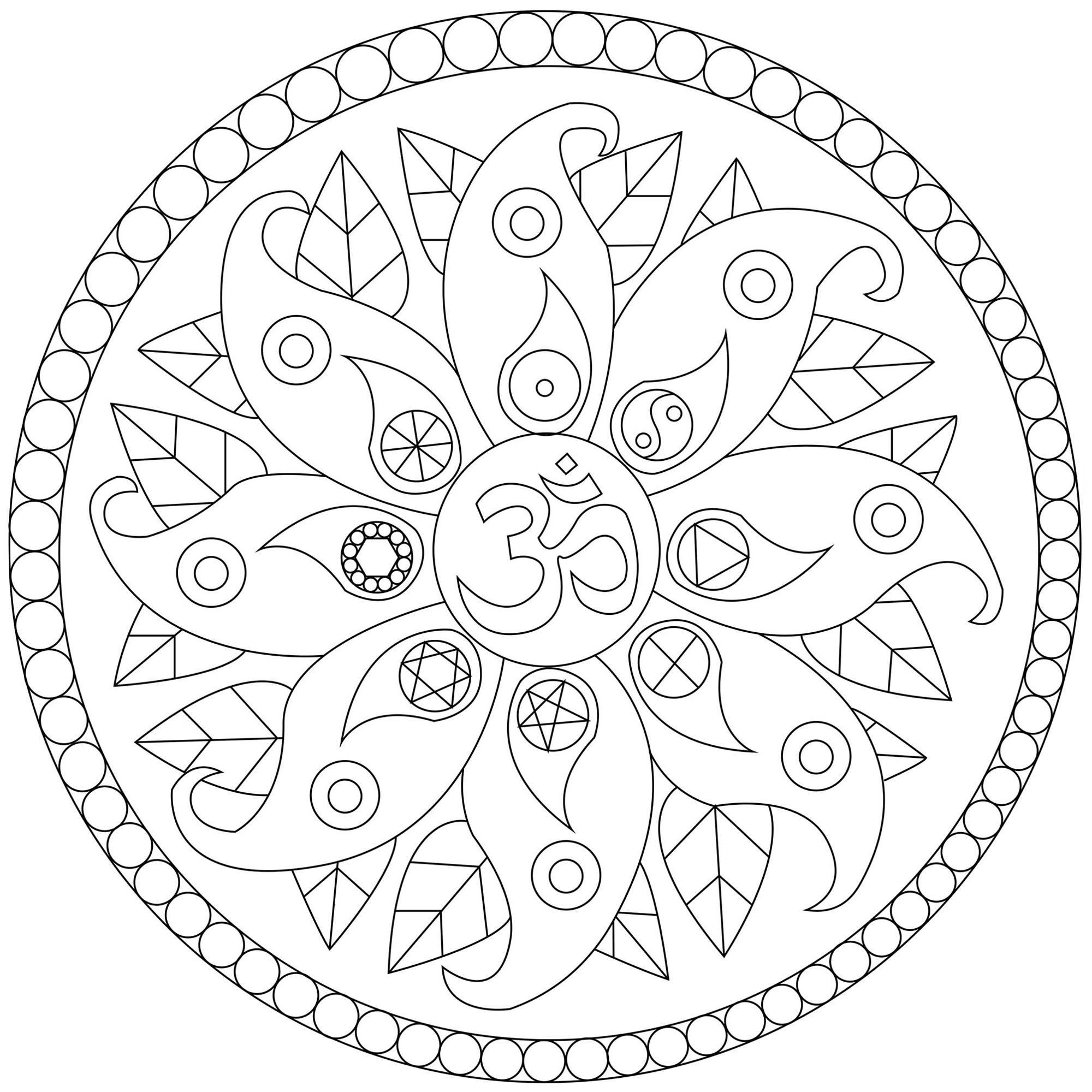 Un joli Mandala assez simple comportant divers symboles de paix : le symbol Om, le Yin et le Yang ...
