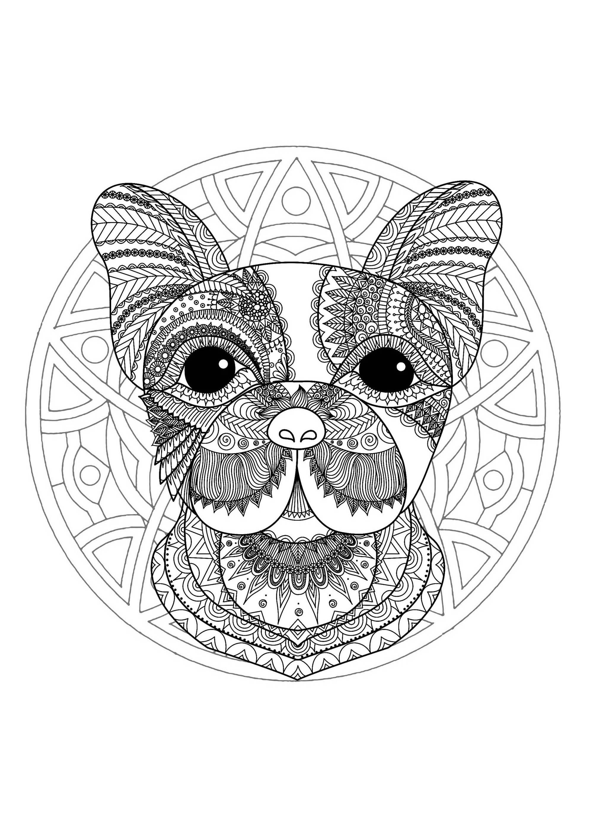 mandala tete chien 1 mandalas coloriages difficiles pour adultes. Black Bedroom Furniture Sets. Home Design Ideas