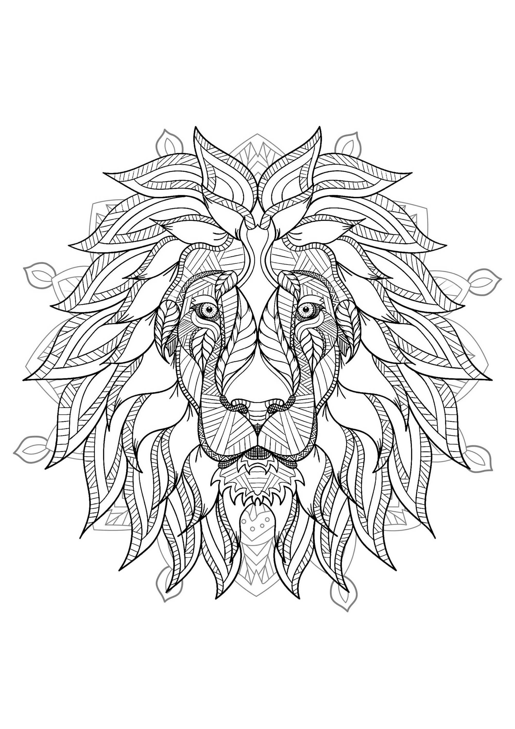 Mandala Tete Lion 2 Mandalas Coloriages Difficiles