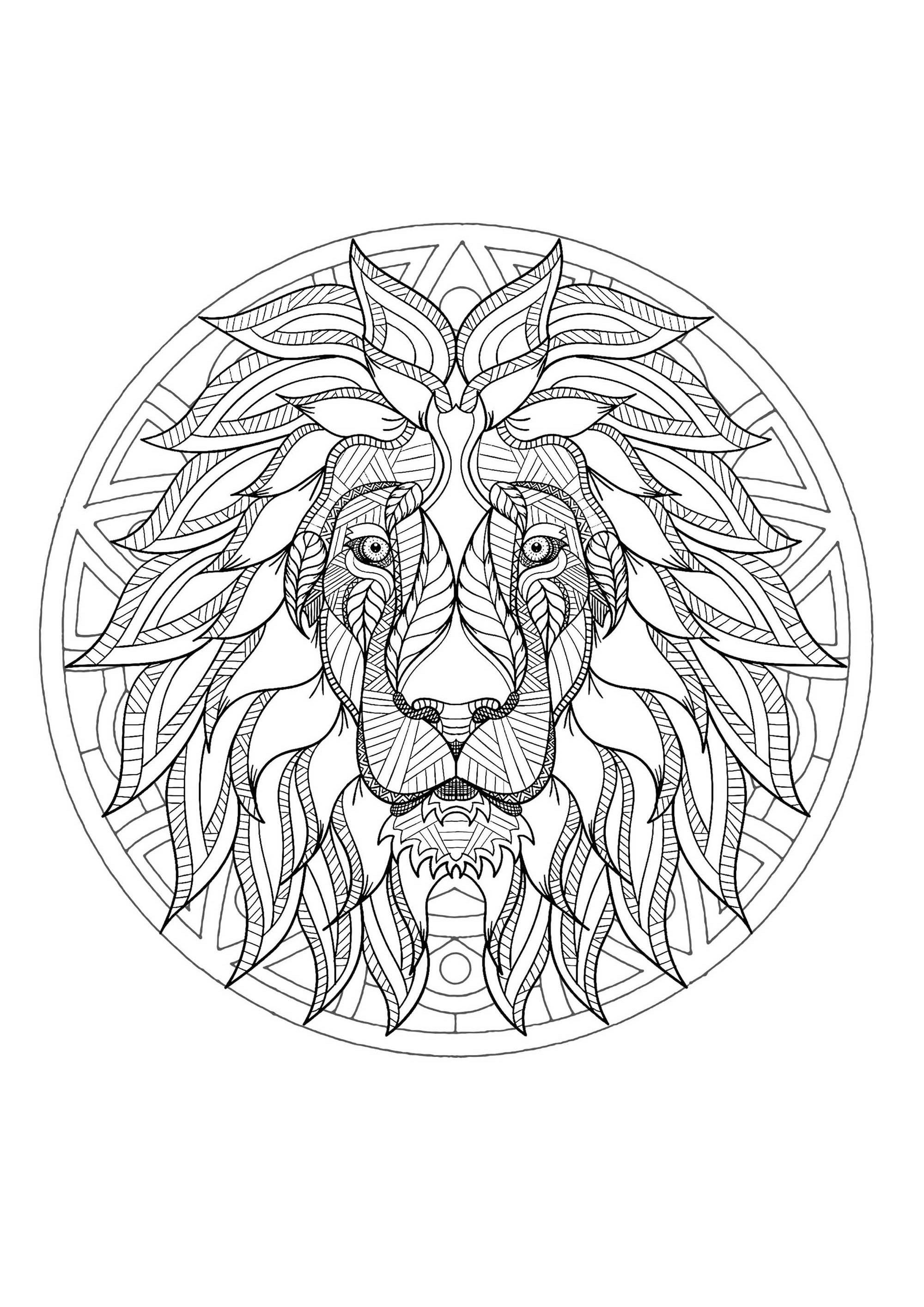 Mandala tete lion 3 - Mandalas - Coloriages difficiles pour adultes