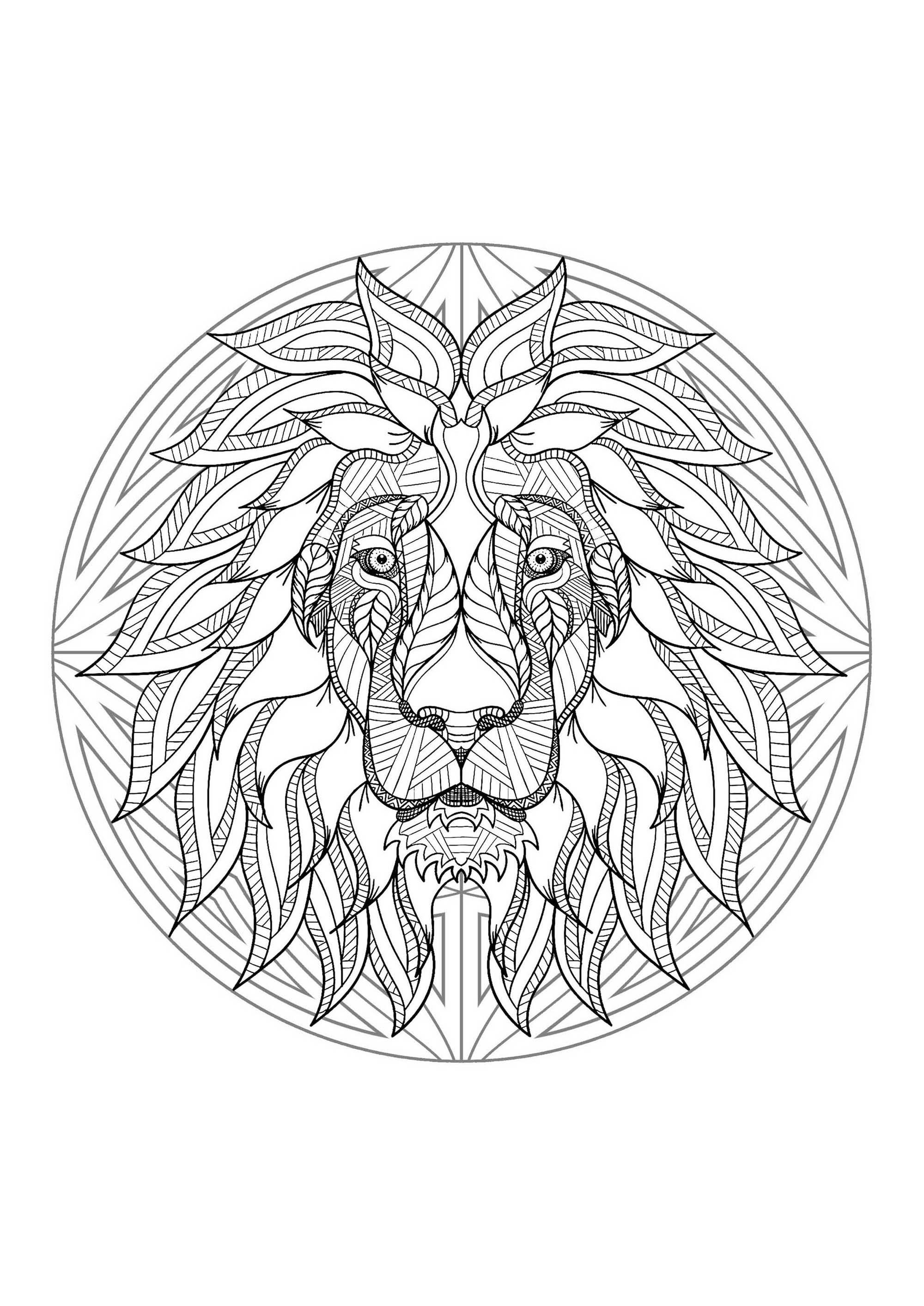 Mandala Tete Lion 4 Mandalas Coloriages Difficiles