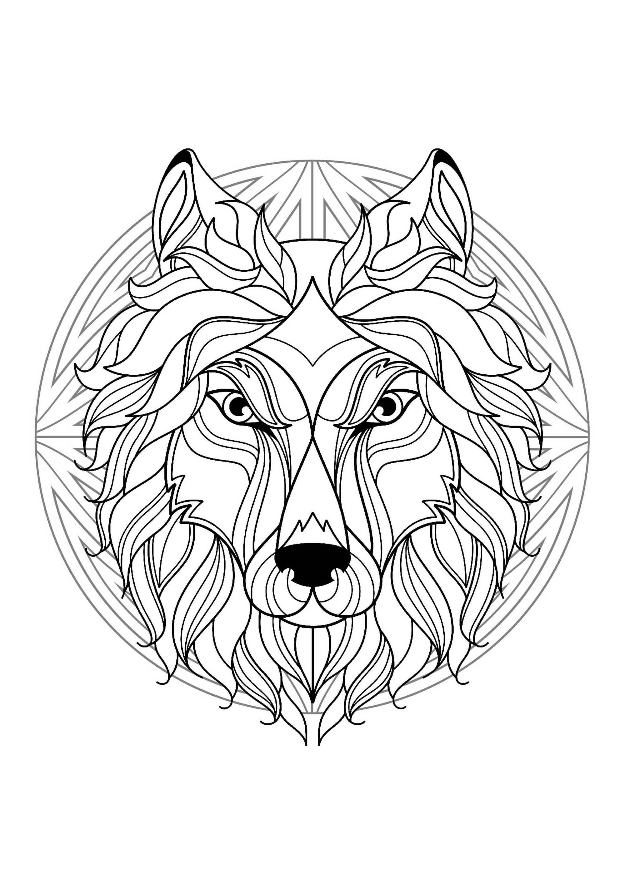 Mandala tete loup 1 mandalas coloriages difficiles pour adultes - Dessin mandela ...