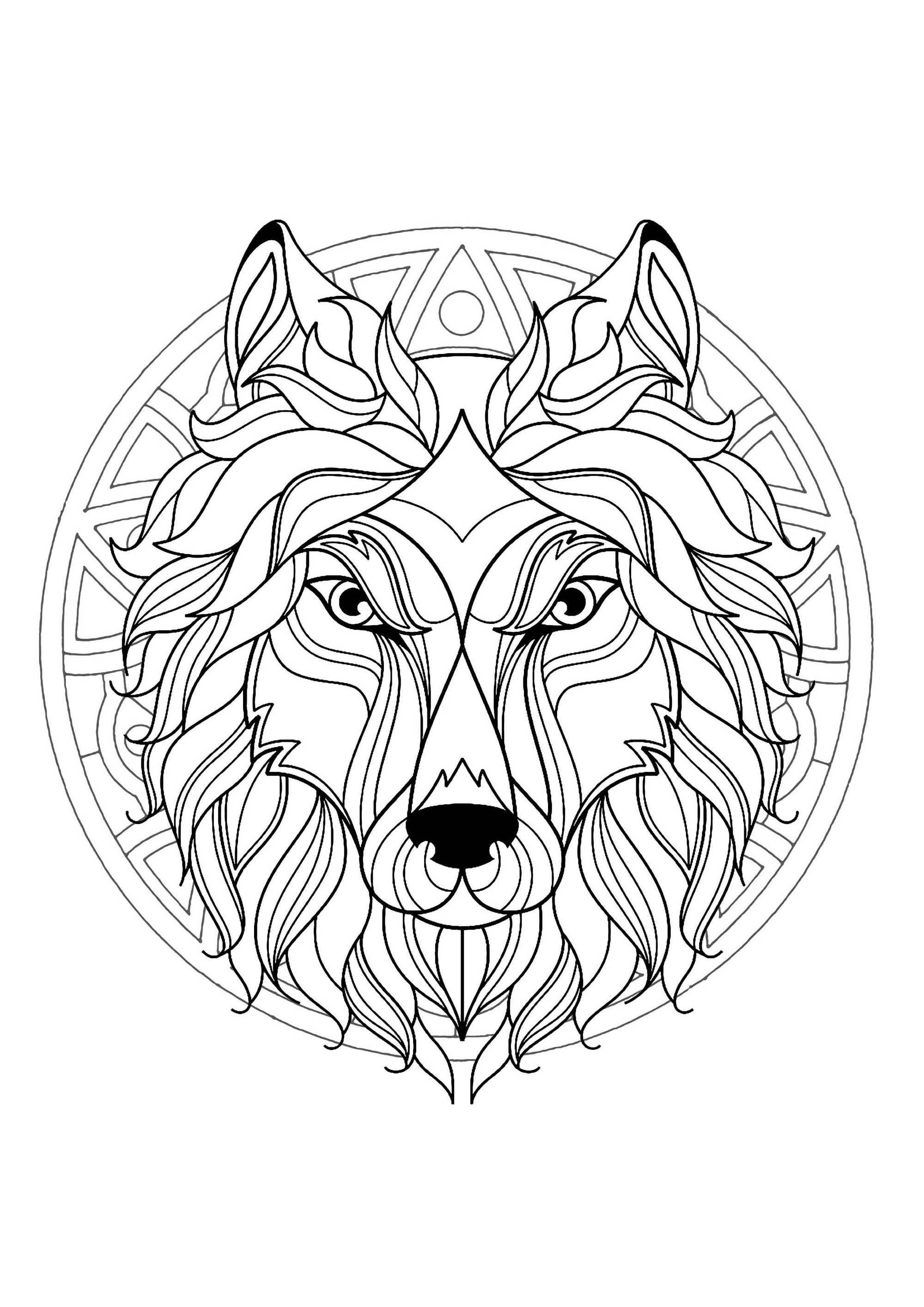 Mandala tete loup 3 mandalas coloriages difficiles - Coloriages loup ...
