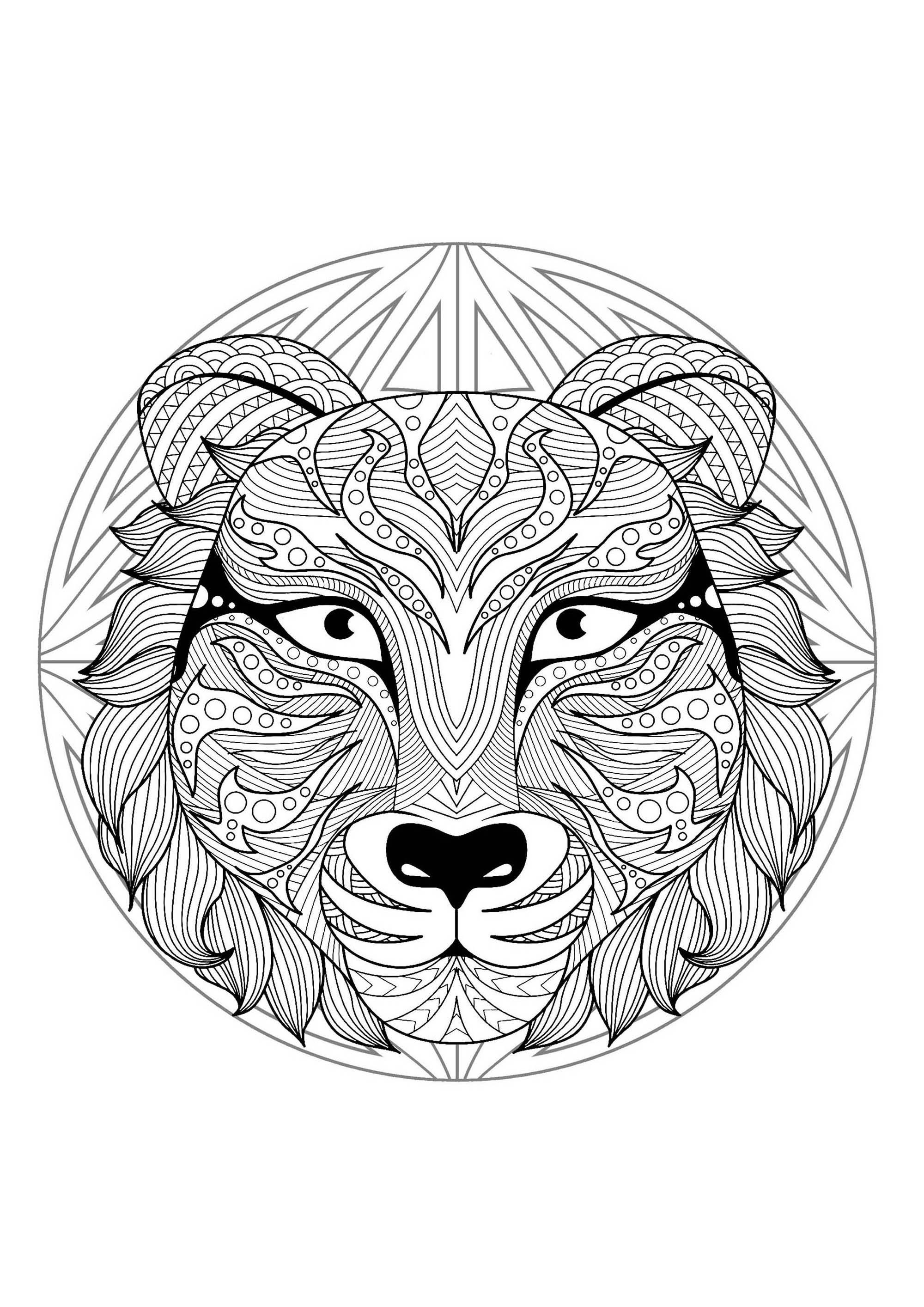 Mandala Tete Tigre 2 Mandalas Coloriages Difficiles Pour Adultes