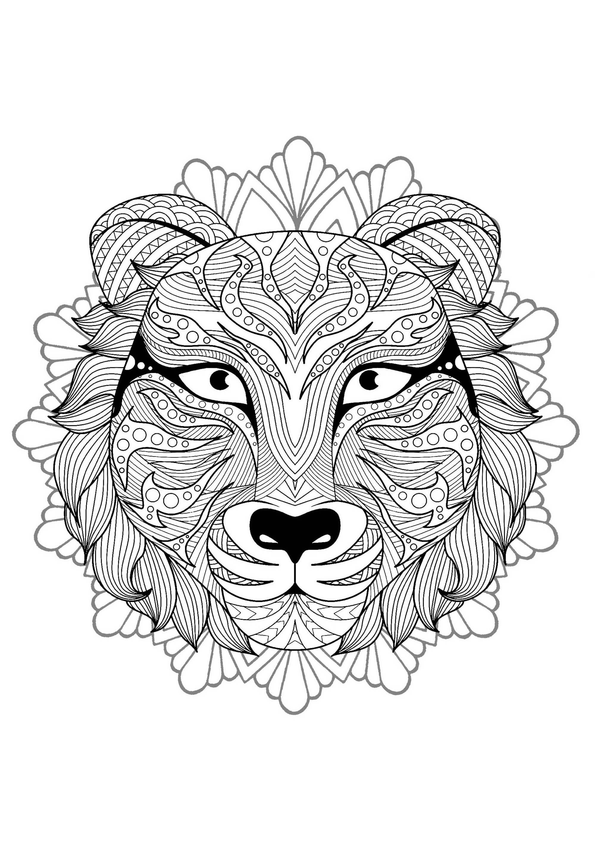 Mandala tete tigre 3 mandalas coloriages difficiles - Mandalas de tigres ...