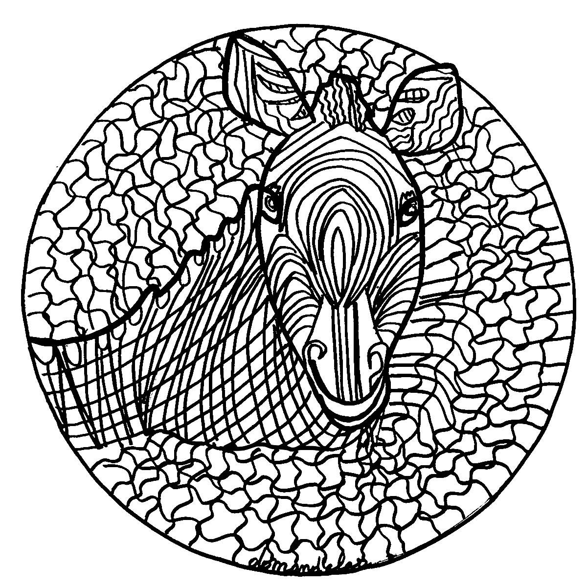 Mandala zebre normal mandalas coloriages difficiles - Dessin zebre facile ...