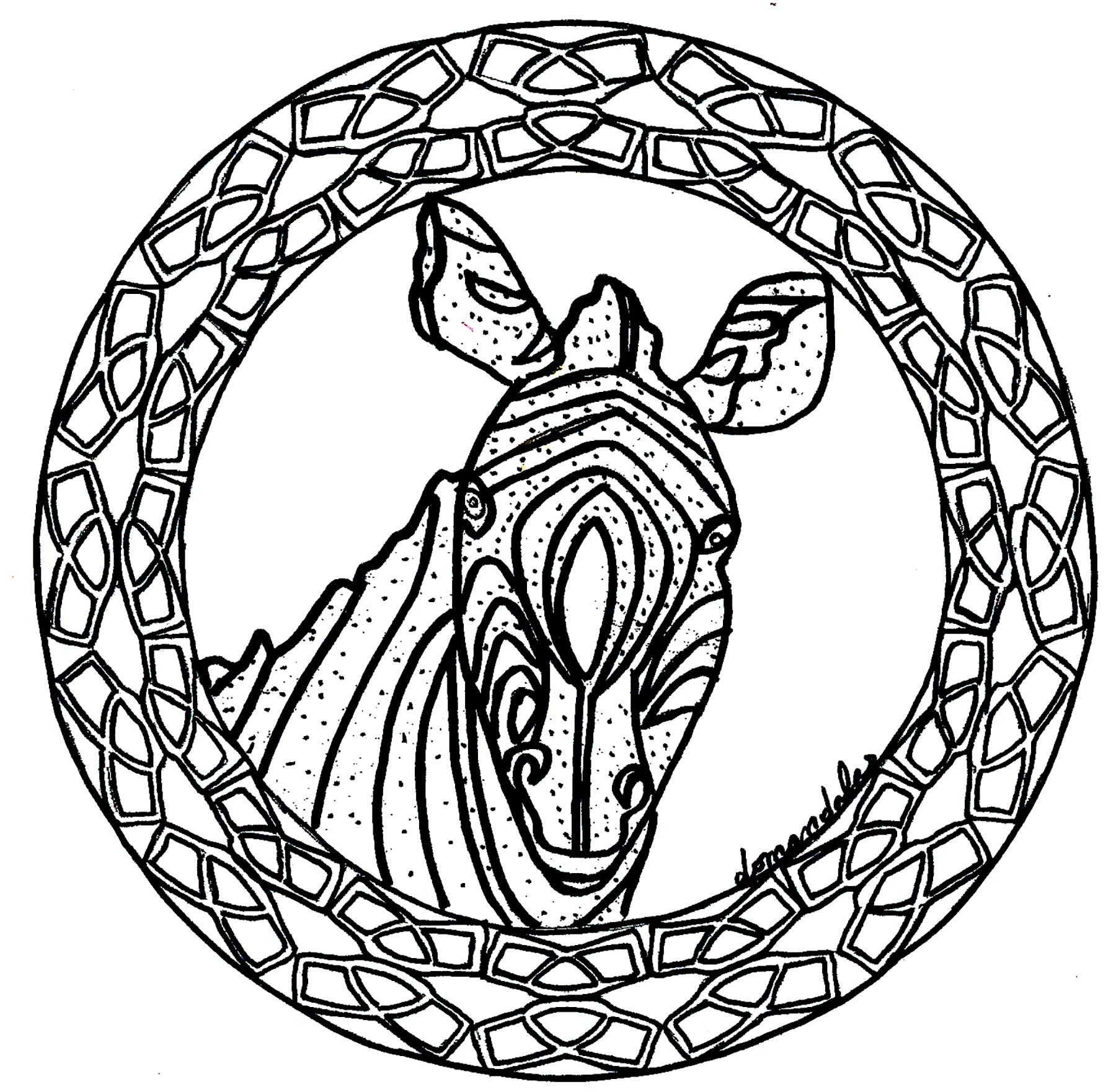 Mandala zebre simple mandalas coloriages difficiles pour adultes - Dessin zebre facile ...