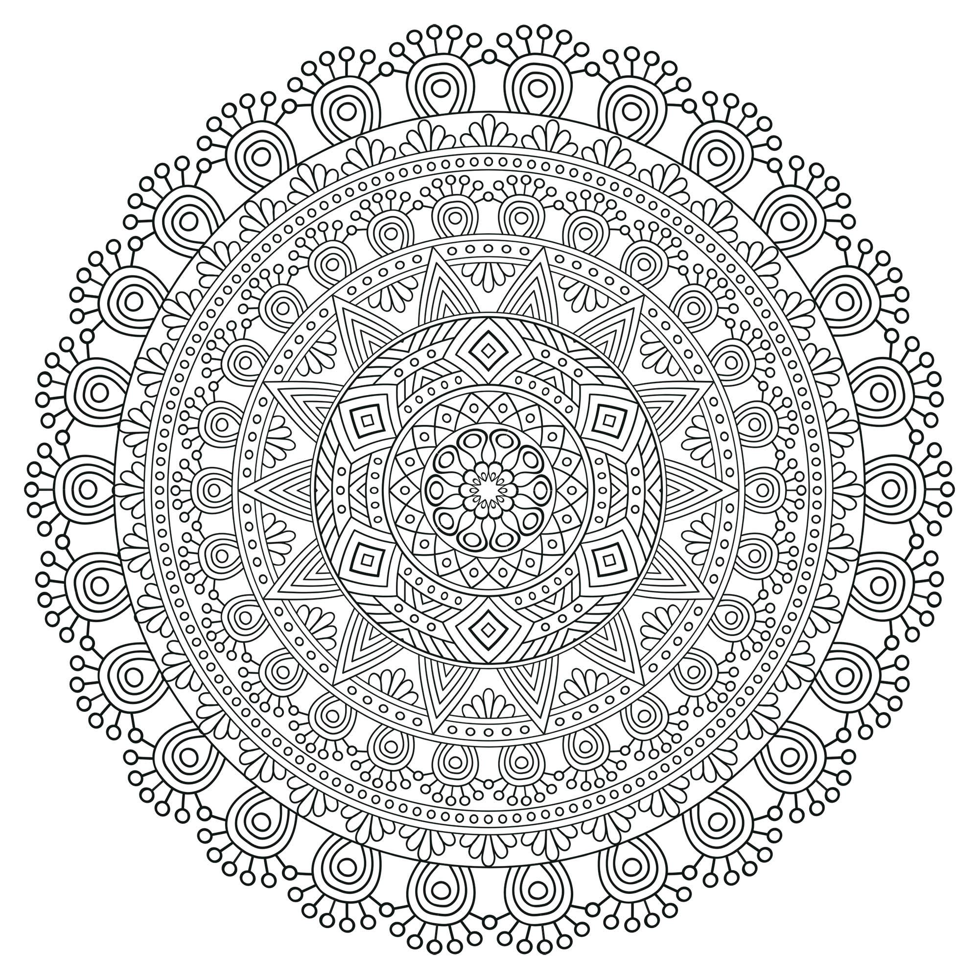 Mandala zen antistress 5 mandalas coloriages difficiles pour adultes - Dessin anti stress mandala ...