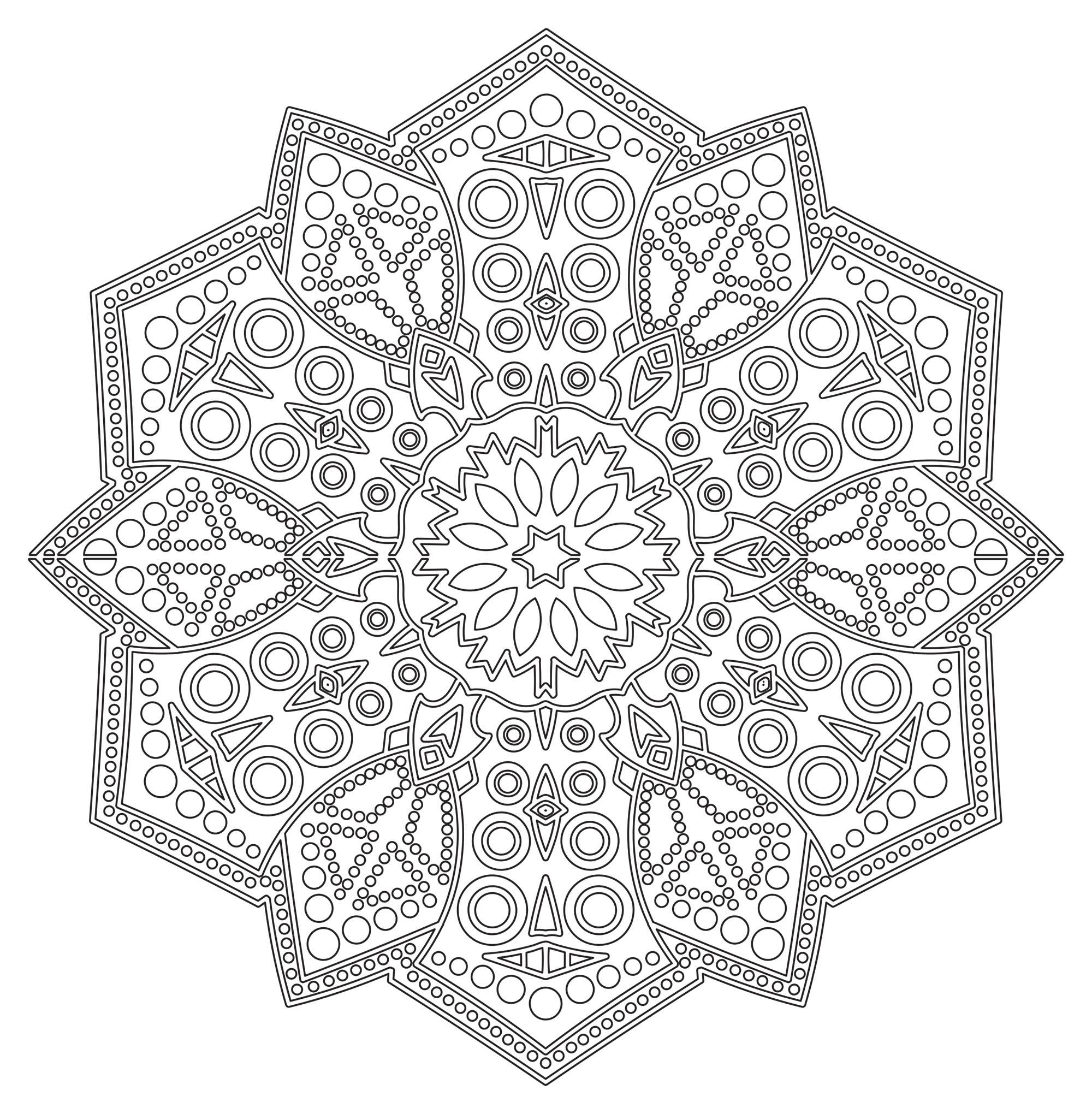 Mandala zen antistress 6 mandalas coloriages difficiles pour adultes - Dessin anti stress mandala ...