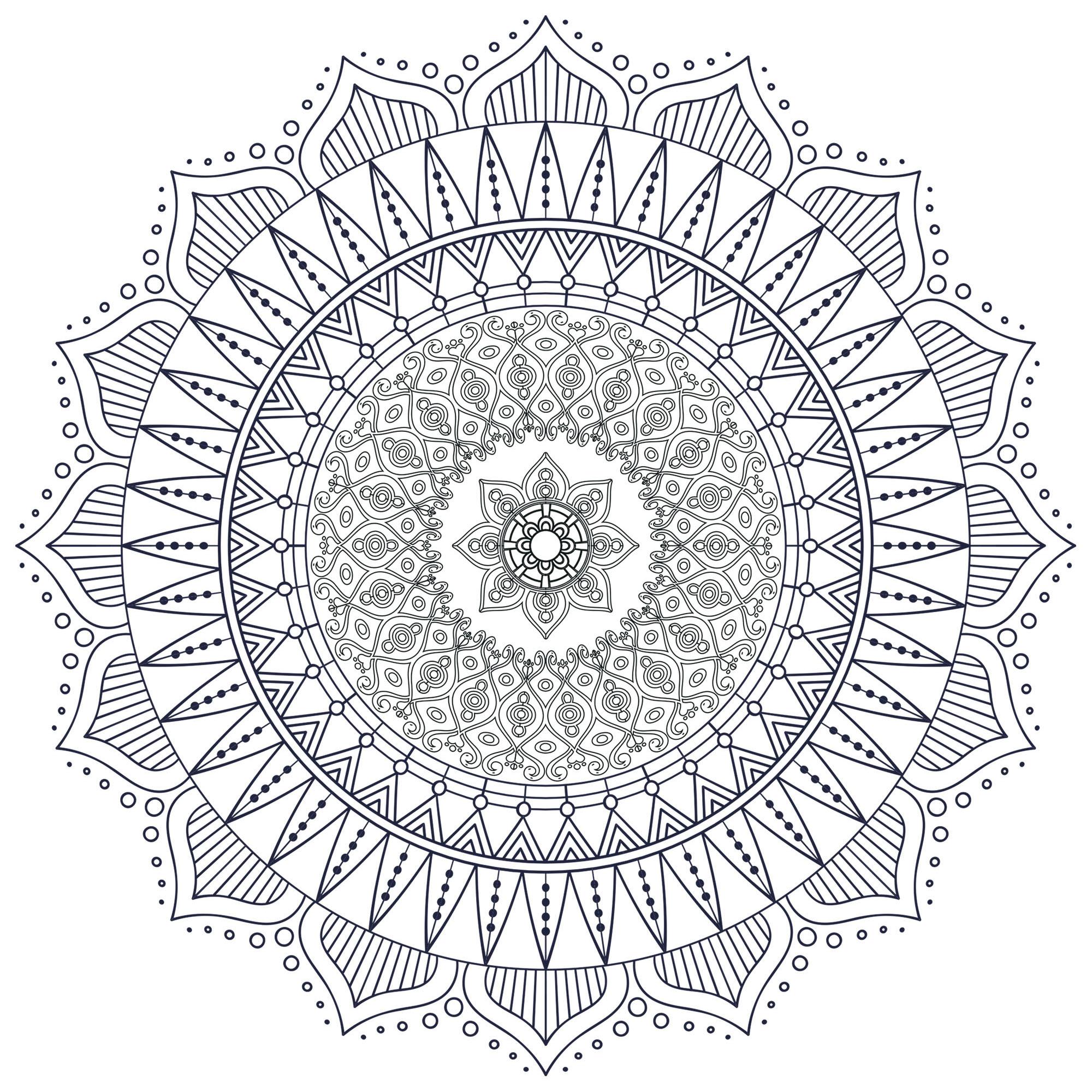 Mandala zen antistress 7 mandalas coloriages difficiles pour adultes - Dessin anti stress mandala ...