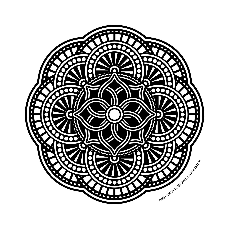 Lâchez prise et coloriez ce joli mandala plein de détails.