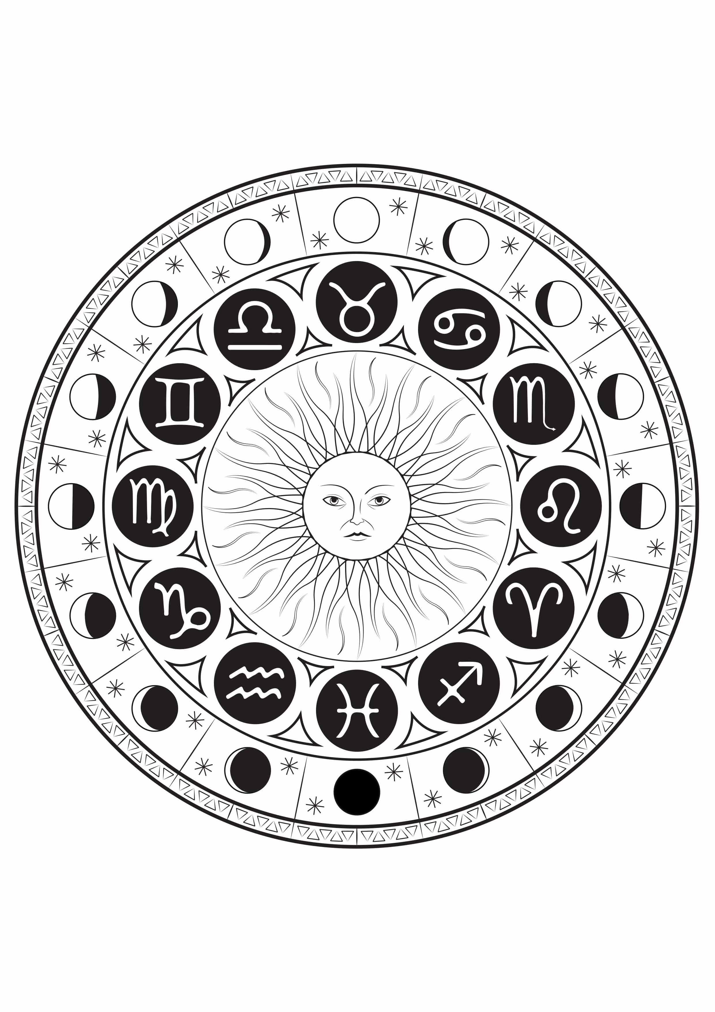 coloriage signe astrologique mandala par louise free to print