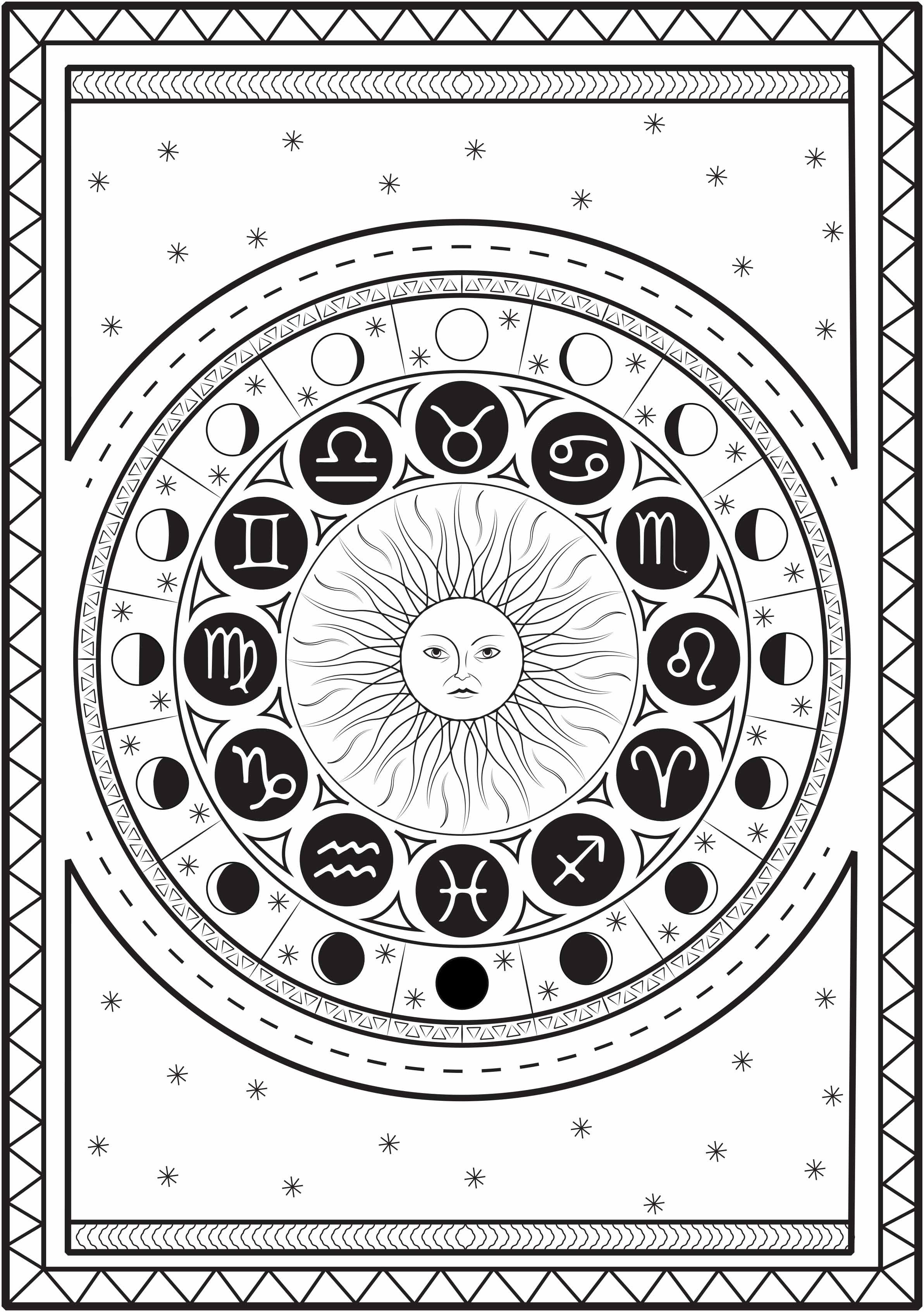 Mandala composé des signes astrologiques autour d'un soleil, avec le cycle de la lune, sur un fond étoilé