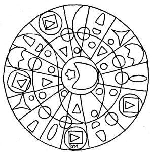Coloriage adulte mandala domandalas lune etoile