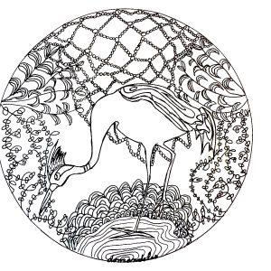 Coloriage mandala heron