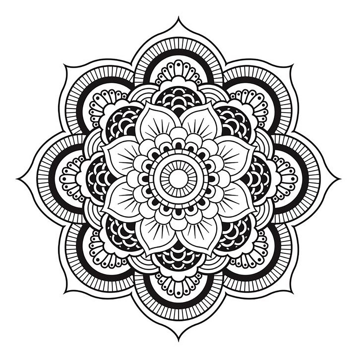Mandala a telecharger et colorier fleur mandalas coloriages difficiles pour adultes - Coloriages mandalas fleurs ...