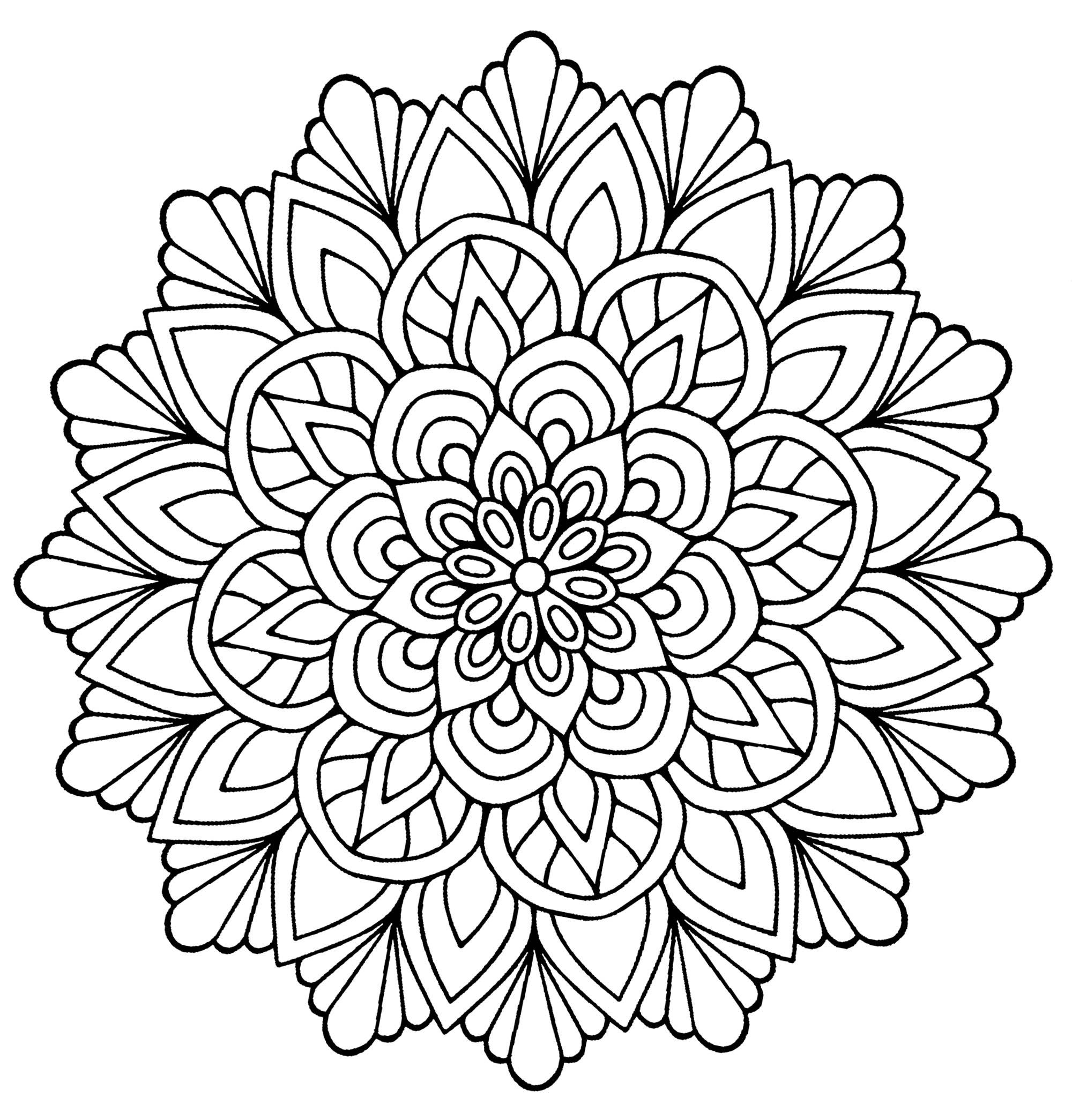 Mandala fleur avec feuilles mandalas coloriages difficiles pour adultes - Coloriage fleur tres jolie ...