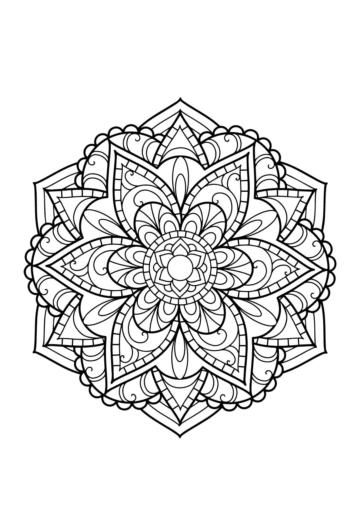 Mandala livre gratuit 15 mandalas coloriages difficiles pour adultes - Grand mandala ...