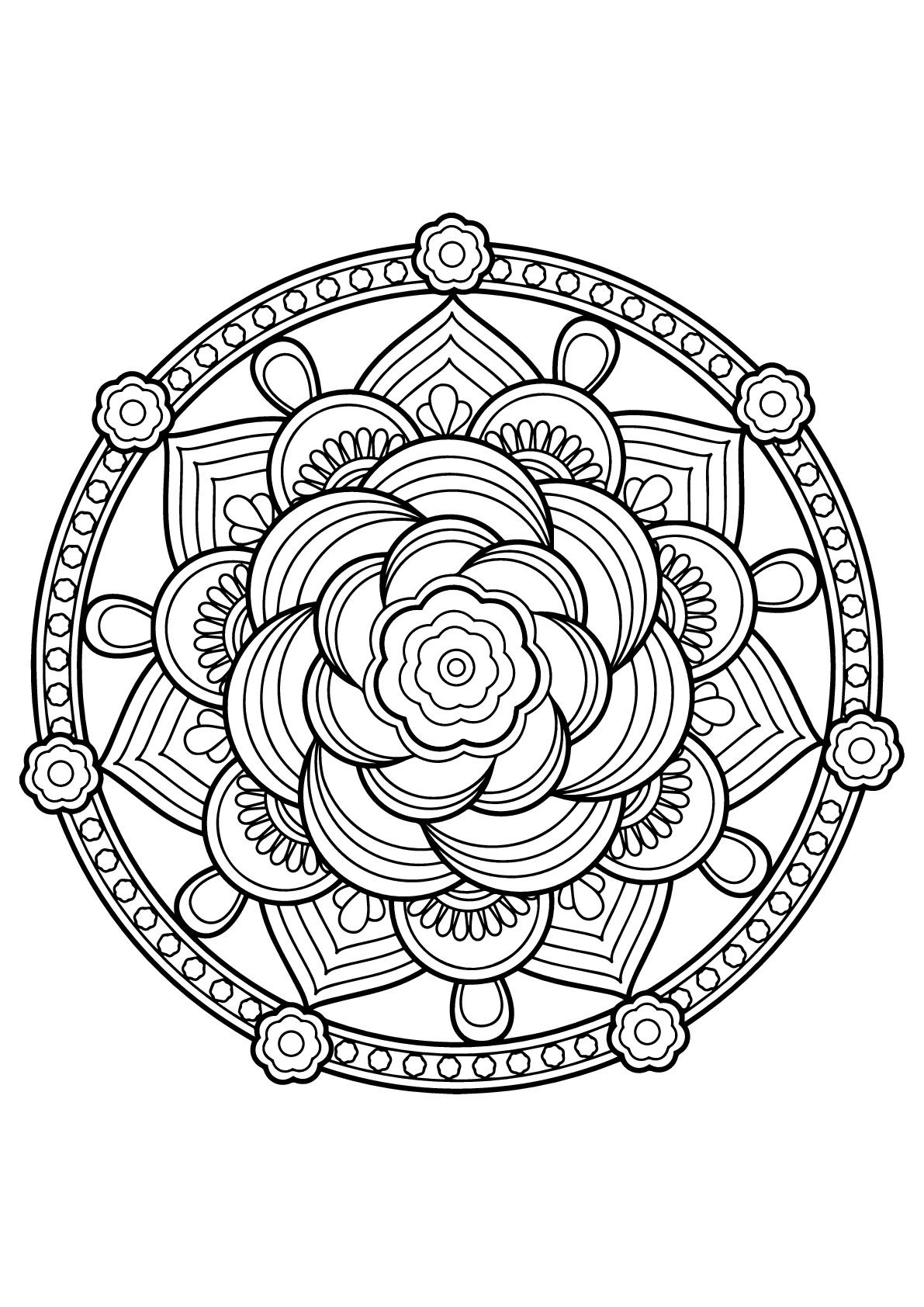 Mandala livre gratuit 7 mandalas coloriages difficiles - Imprimer des mandalas gratuit ...